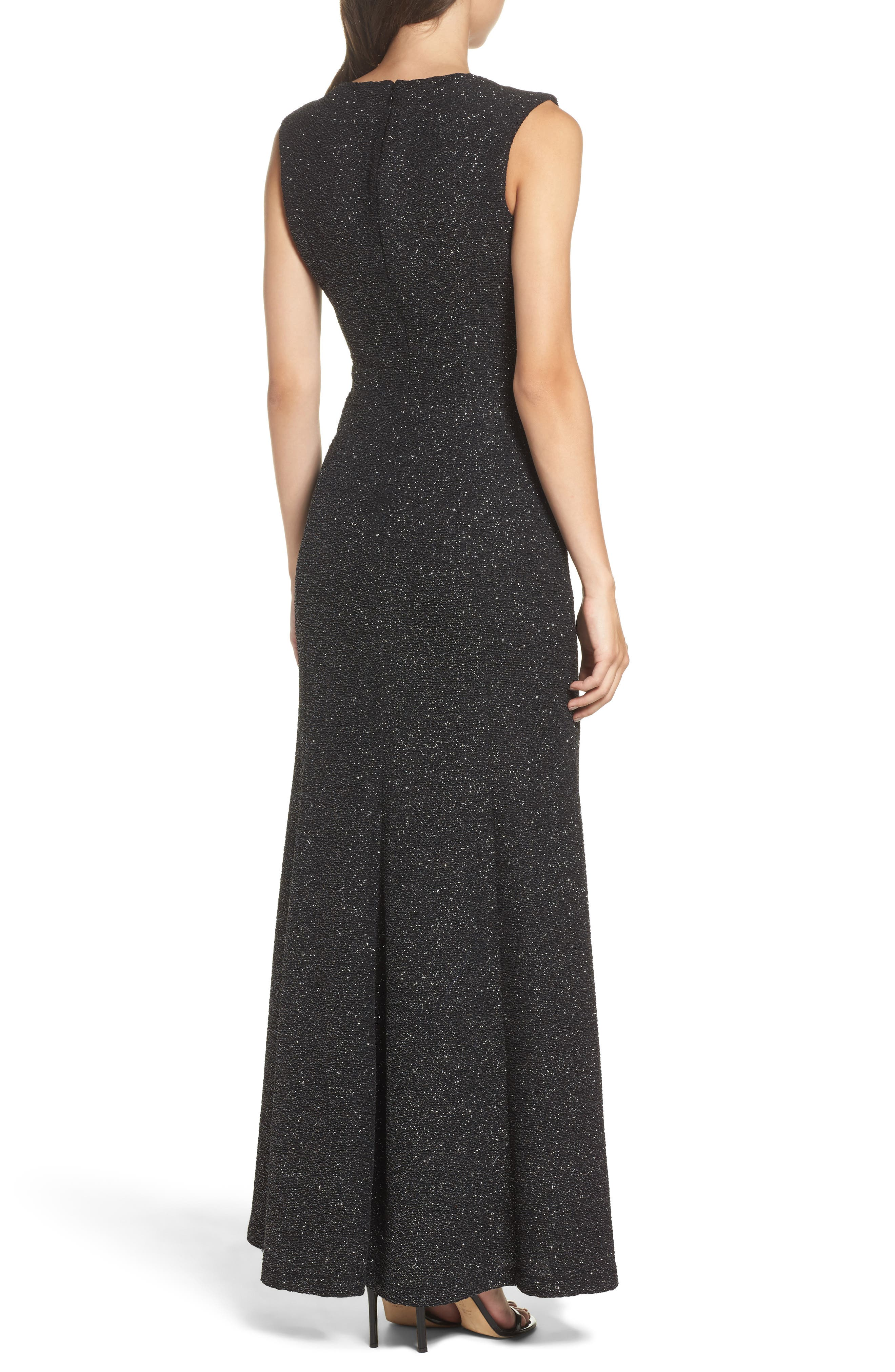 Glitter Knit Gown,                             Alternate thumbnail 2, color,                             Black/ Silver