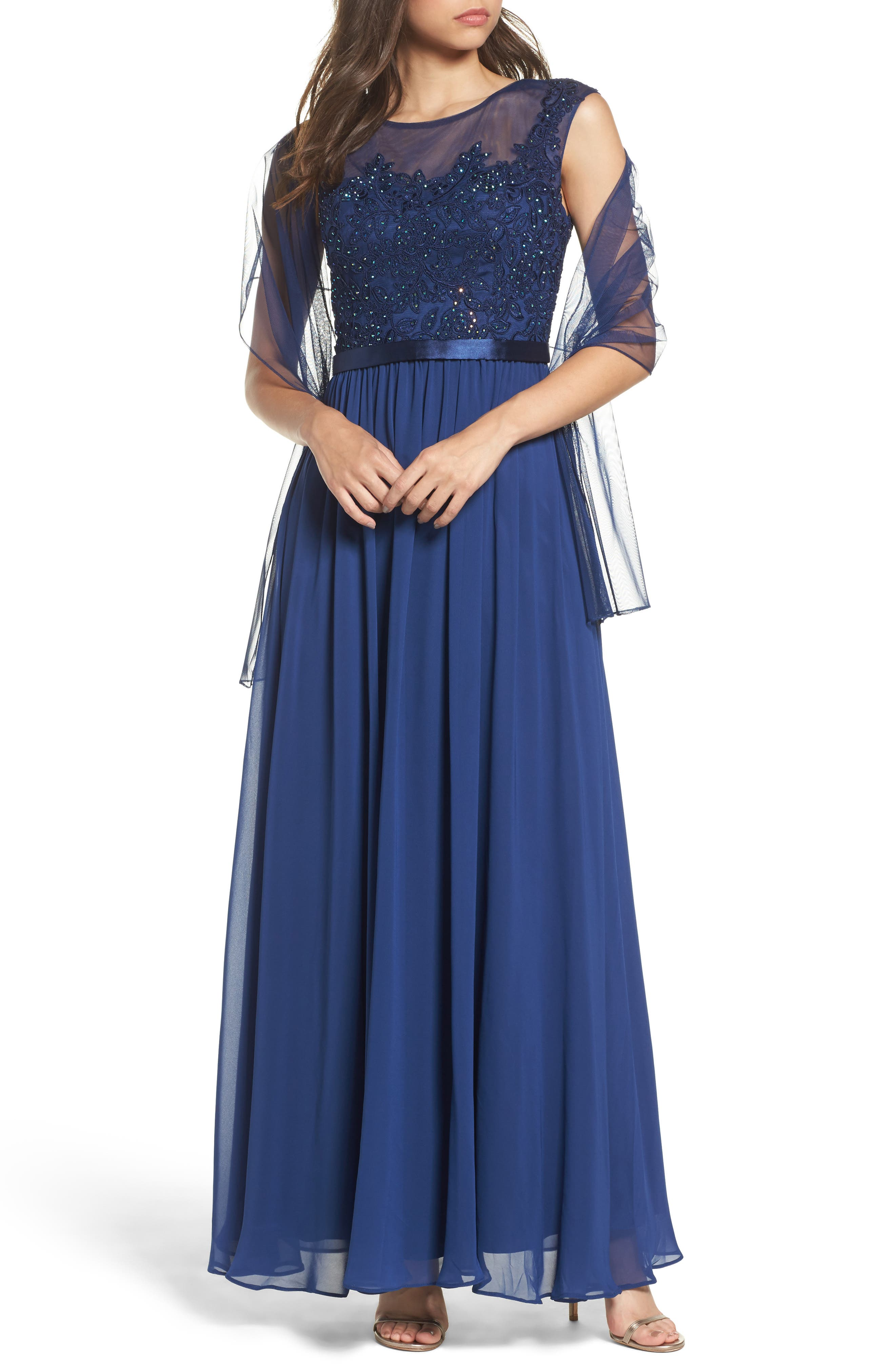 Xcape Embellished Bodice Mesh A-Line Gown,                         Main,                         color, Ocean Blue