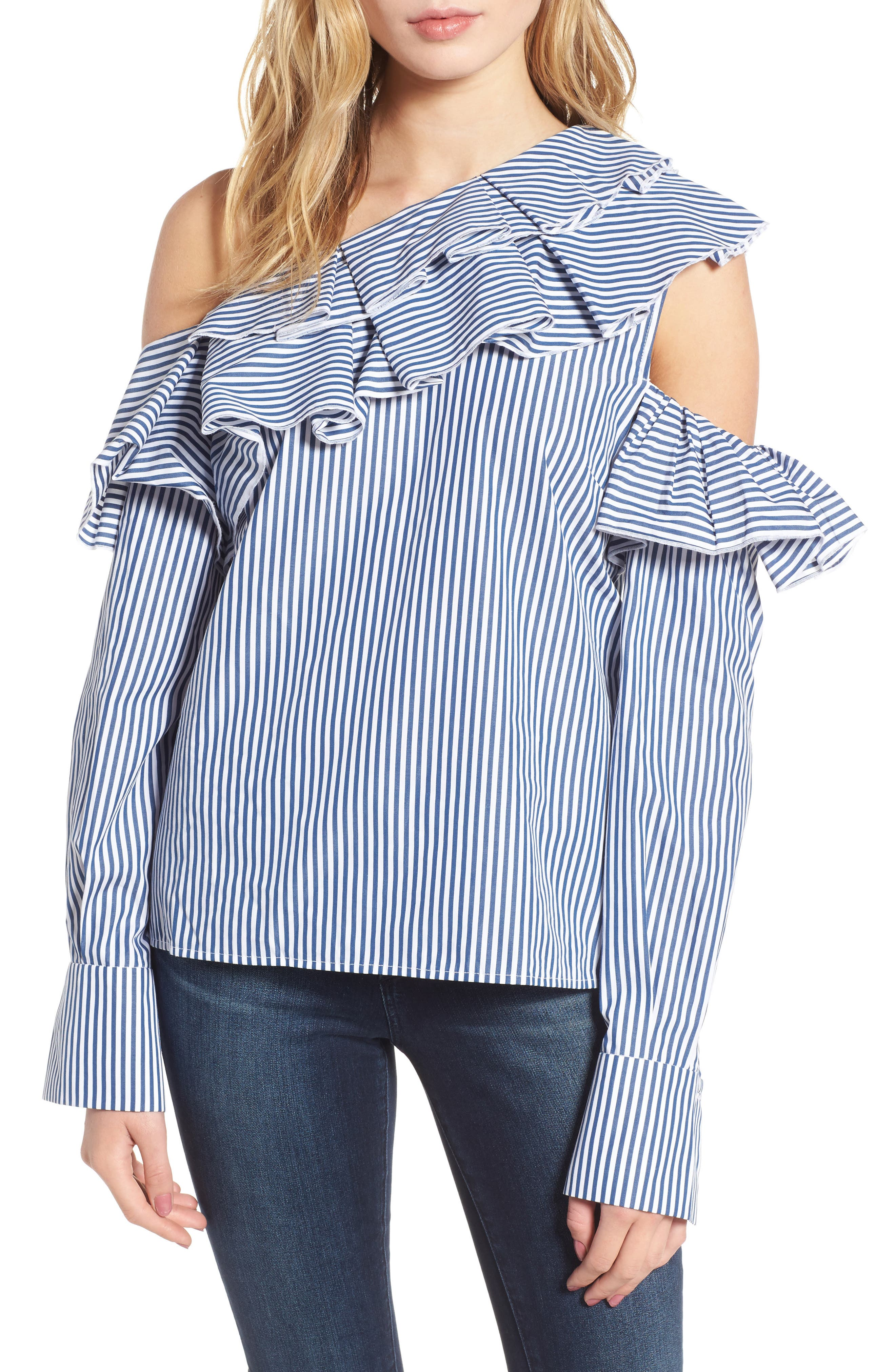 Ruffle One-Shoulder Blouse,                         Main,                         color, Navy M Betty St