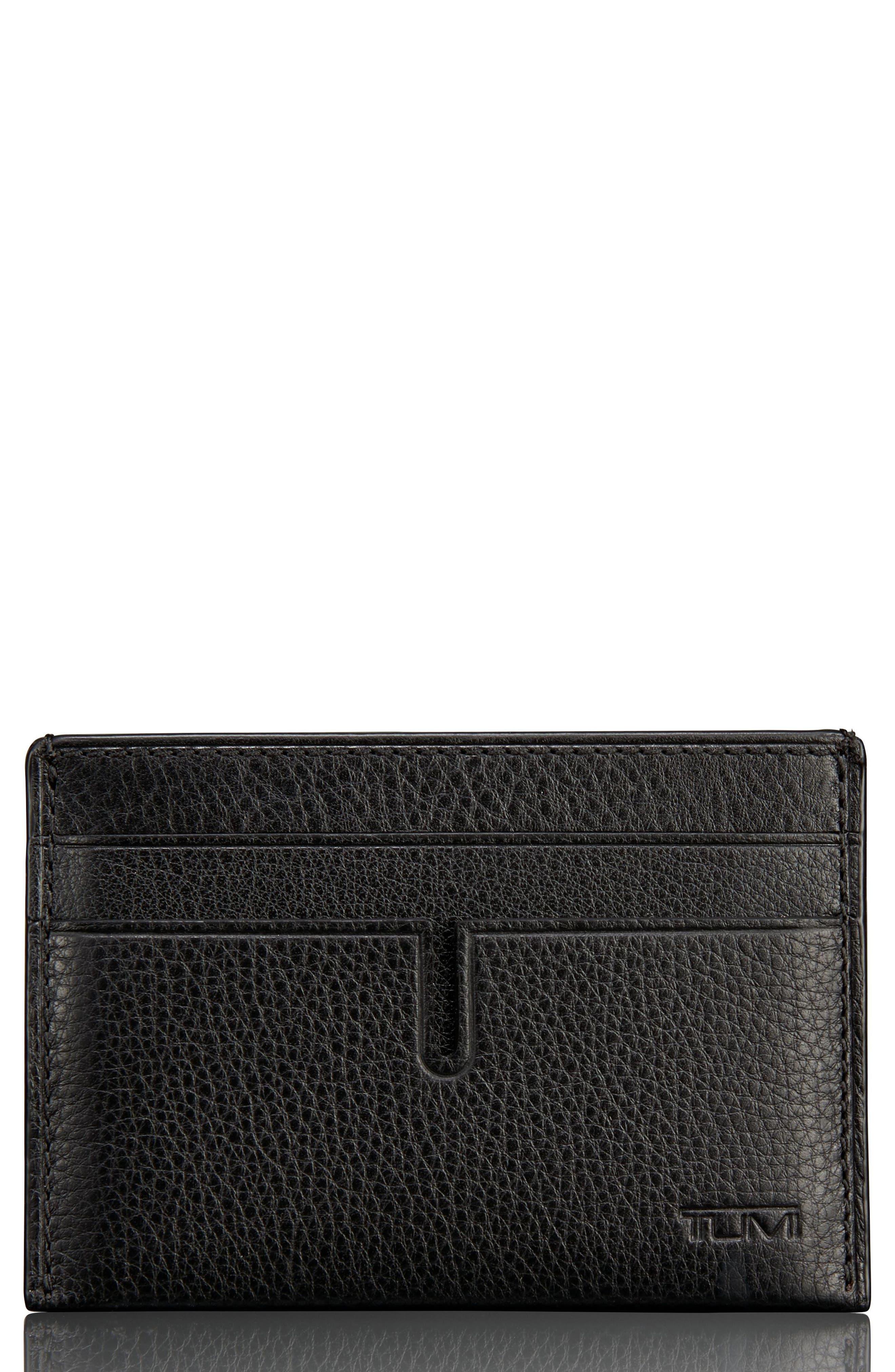 Leather Money Clip Card Case,                         Main,                         color, Black Textured