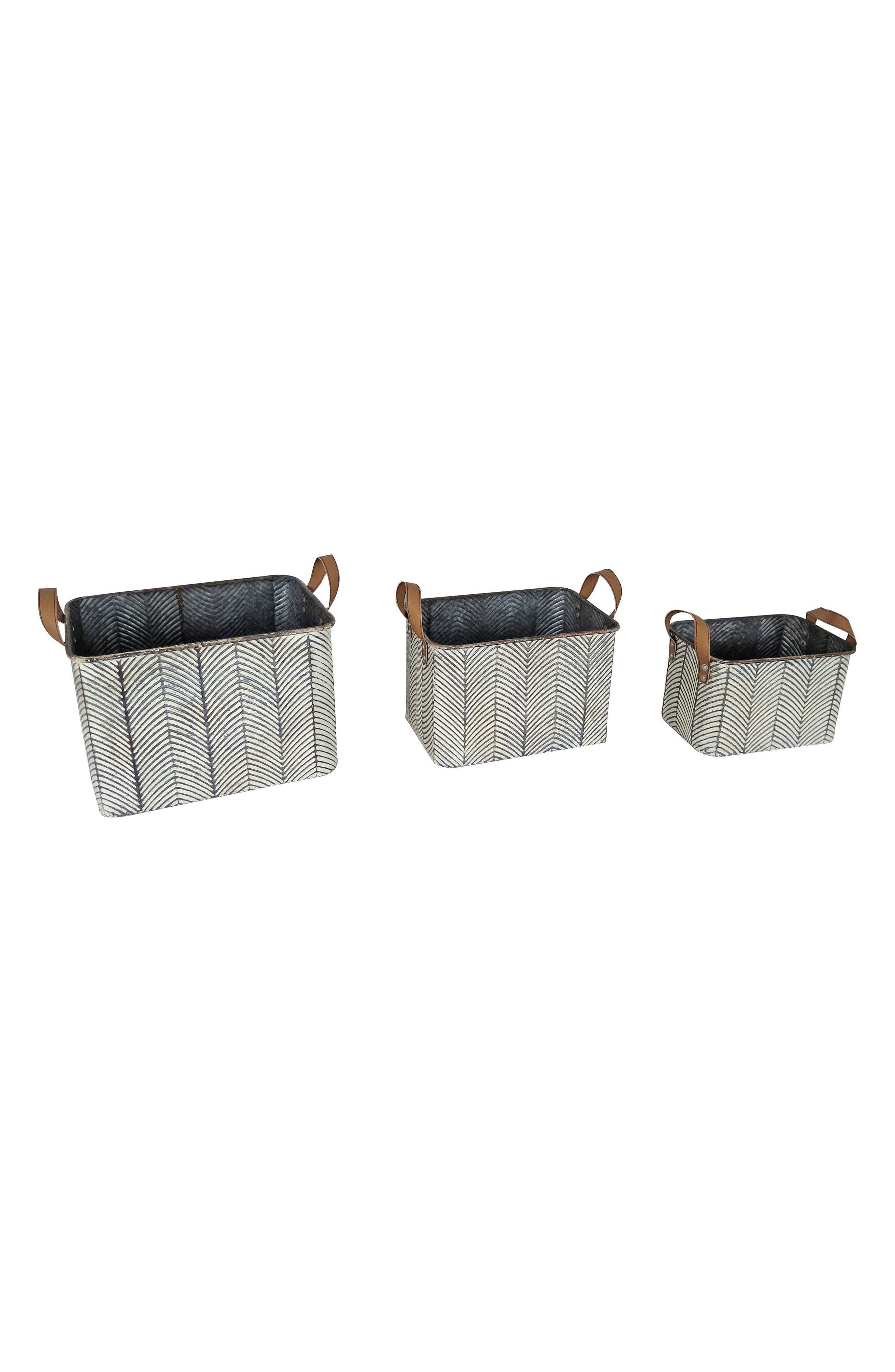 Braxton Set of 3 Baskets,                             Main thumbnail 1, color,                             Metal/ Faux Leather