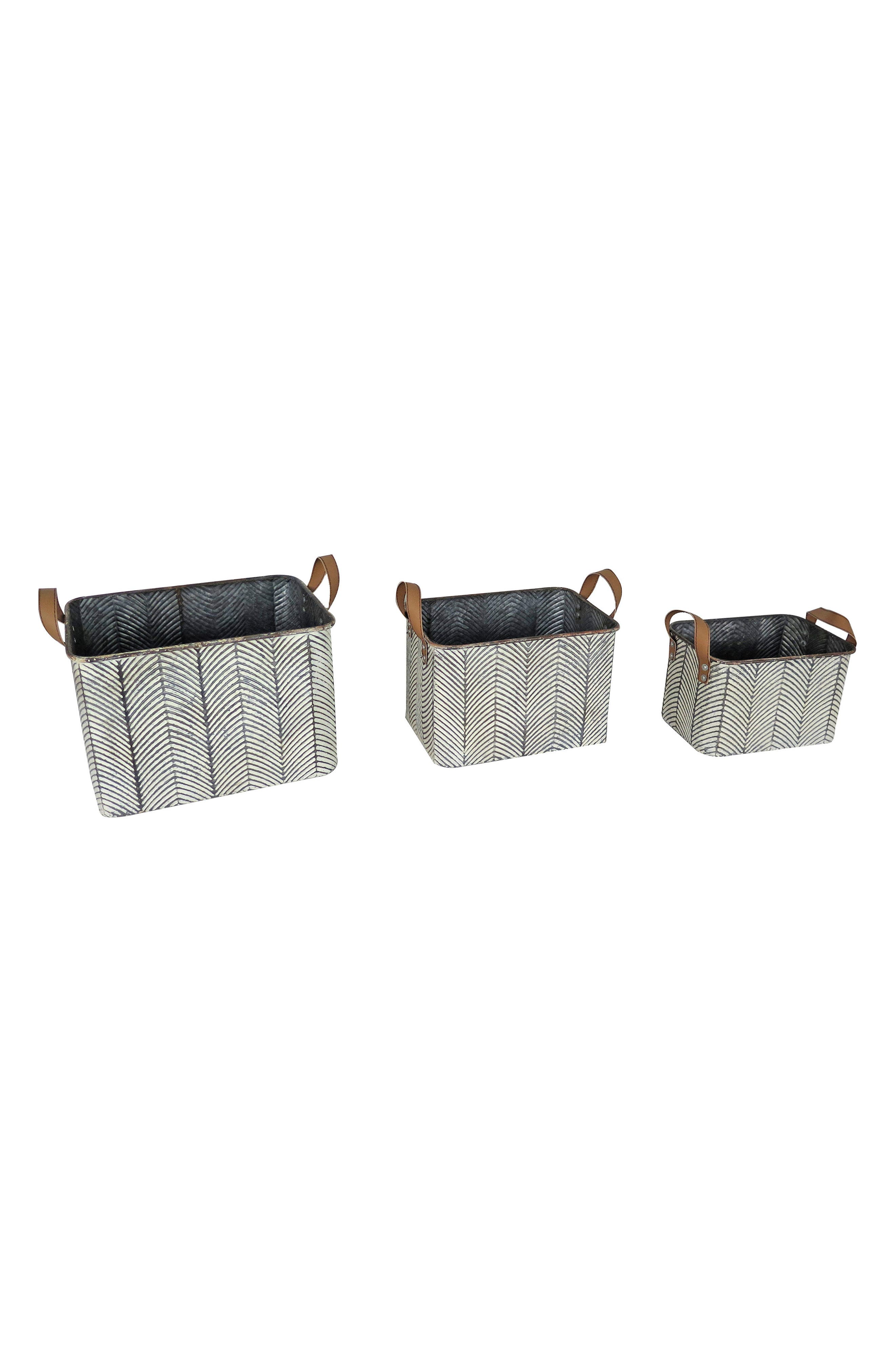 Braxton Set of 3 Baskets,                         Main,                         color, Metal/ Faux Leather