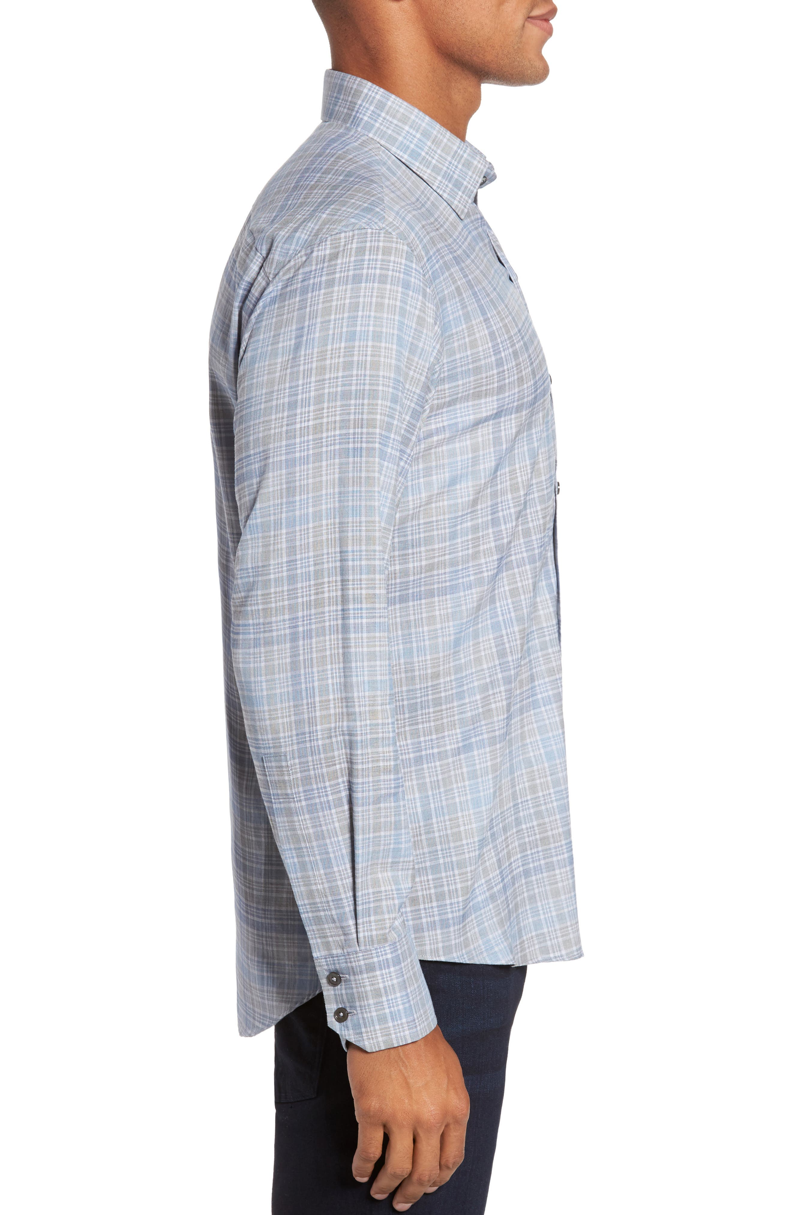 Johannes Slim Fit Plaid Sport Shirt,                             Alternate thumbnail 3, color,                             Light Grey