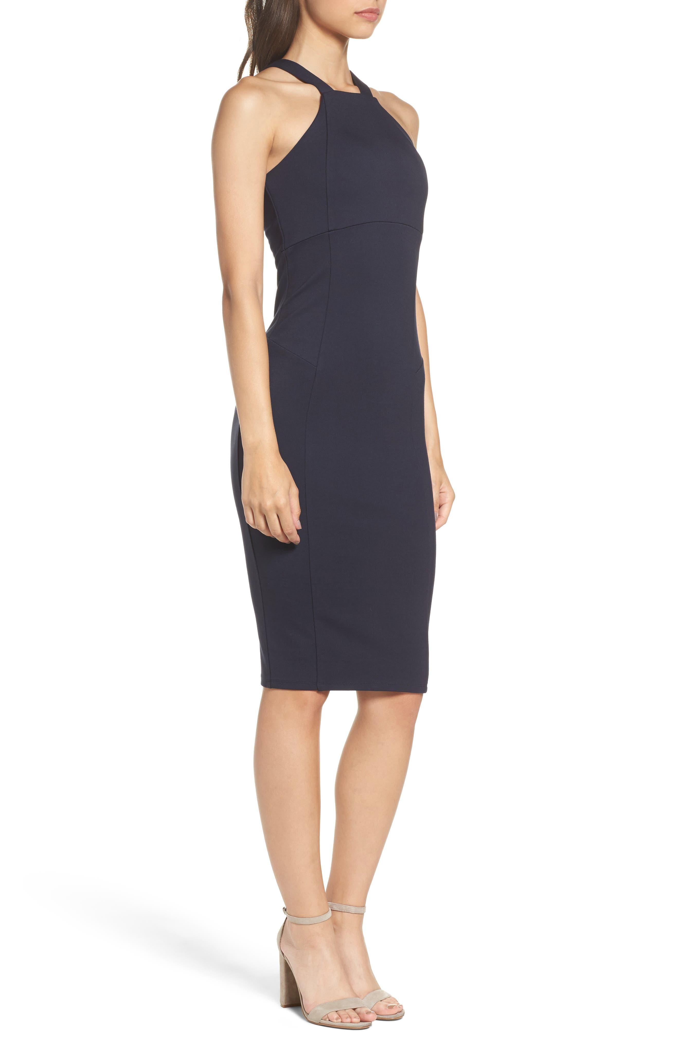 Betina Halter Body-Con Dress,                             Alternate thumbnail 3, color,                             Navy