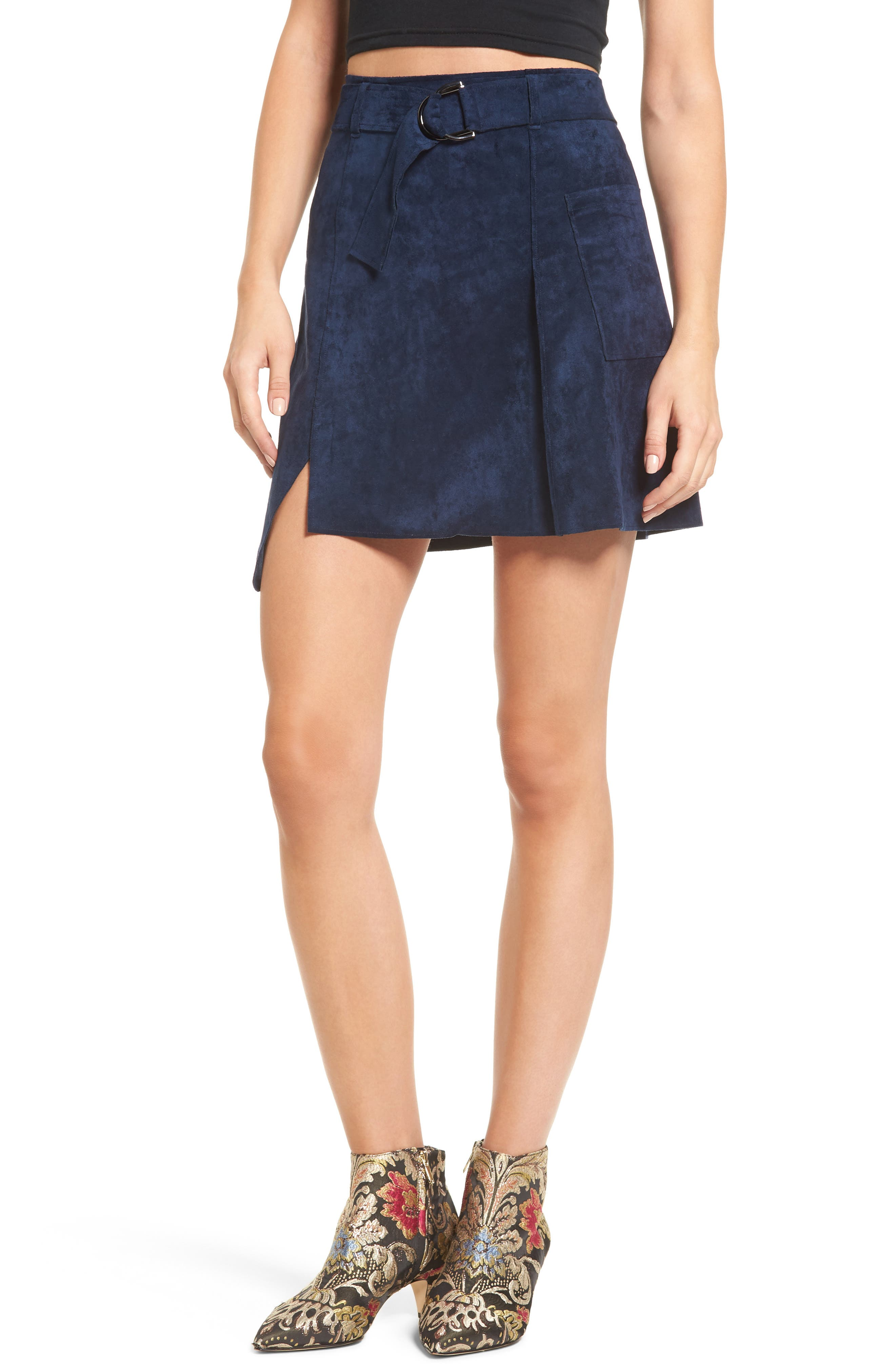 J.O.A. Belted Faux Suede Miniskirt