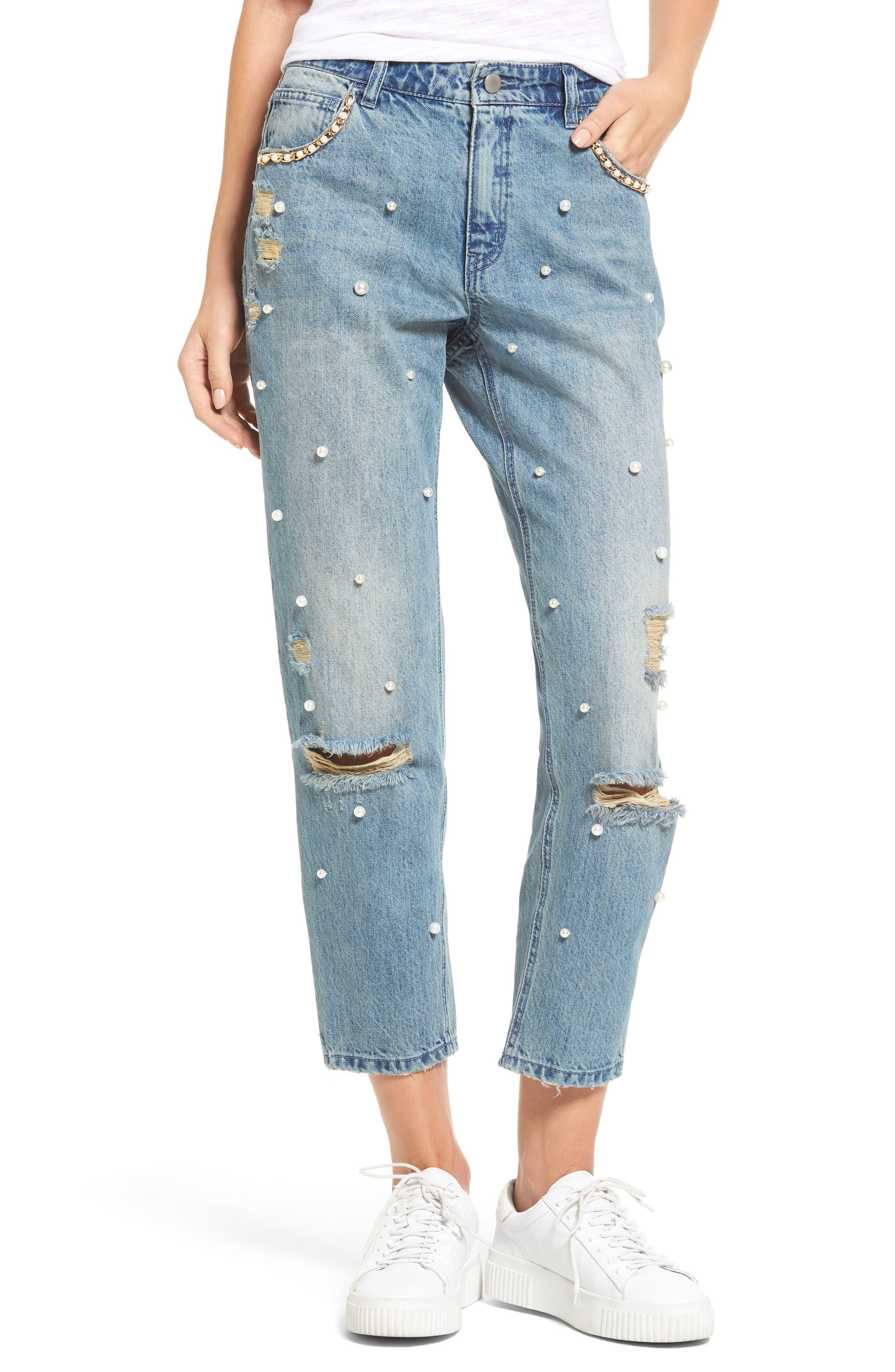 Distressed Pearl Boyfriend Jeans,                             Main thumbnail 1, color,                             Light Wash