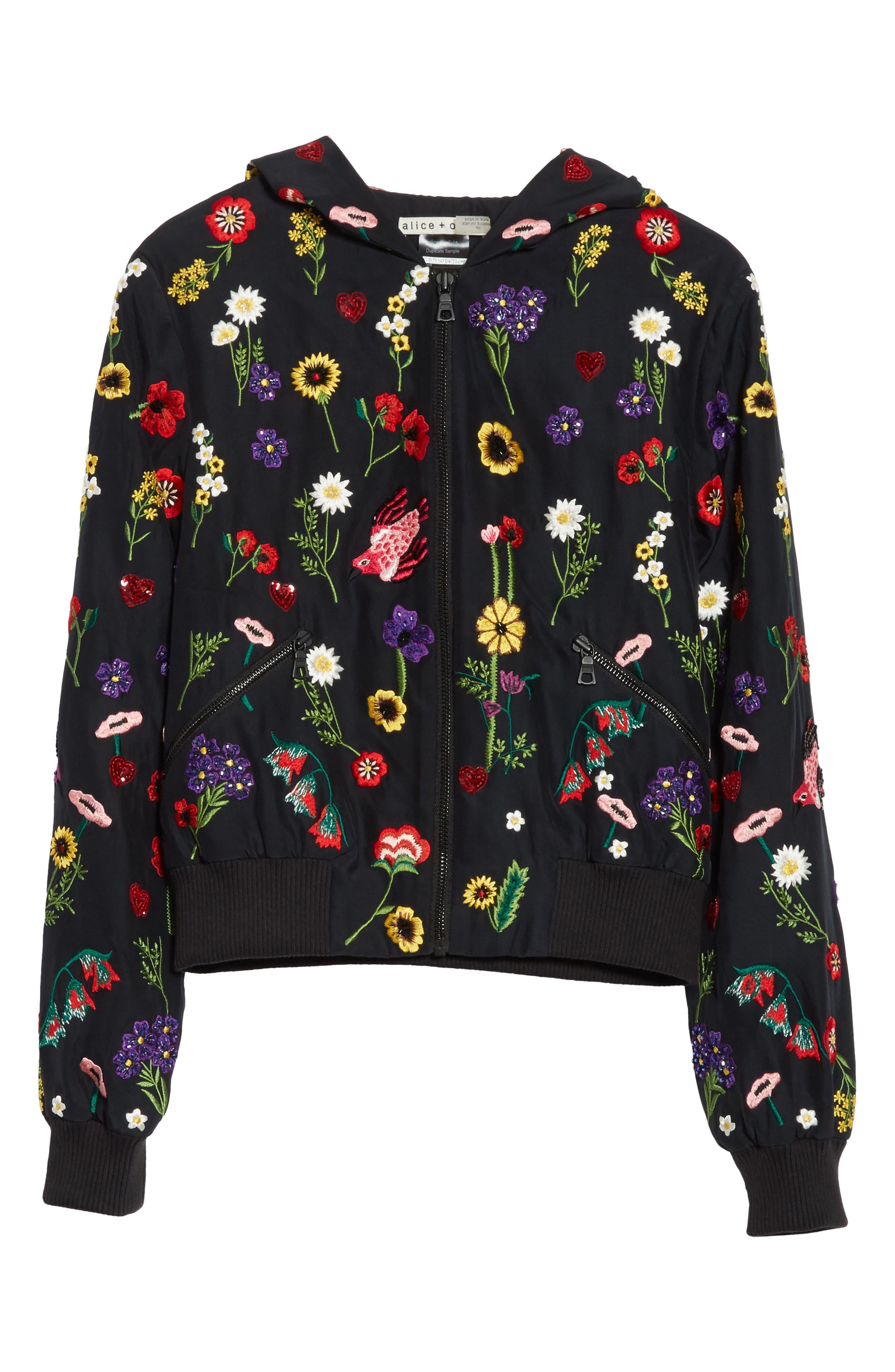 Alternate Image 6  - Alice + Olivia Lonnie Embroidered Hooded Silk Bomber Jacket