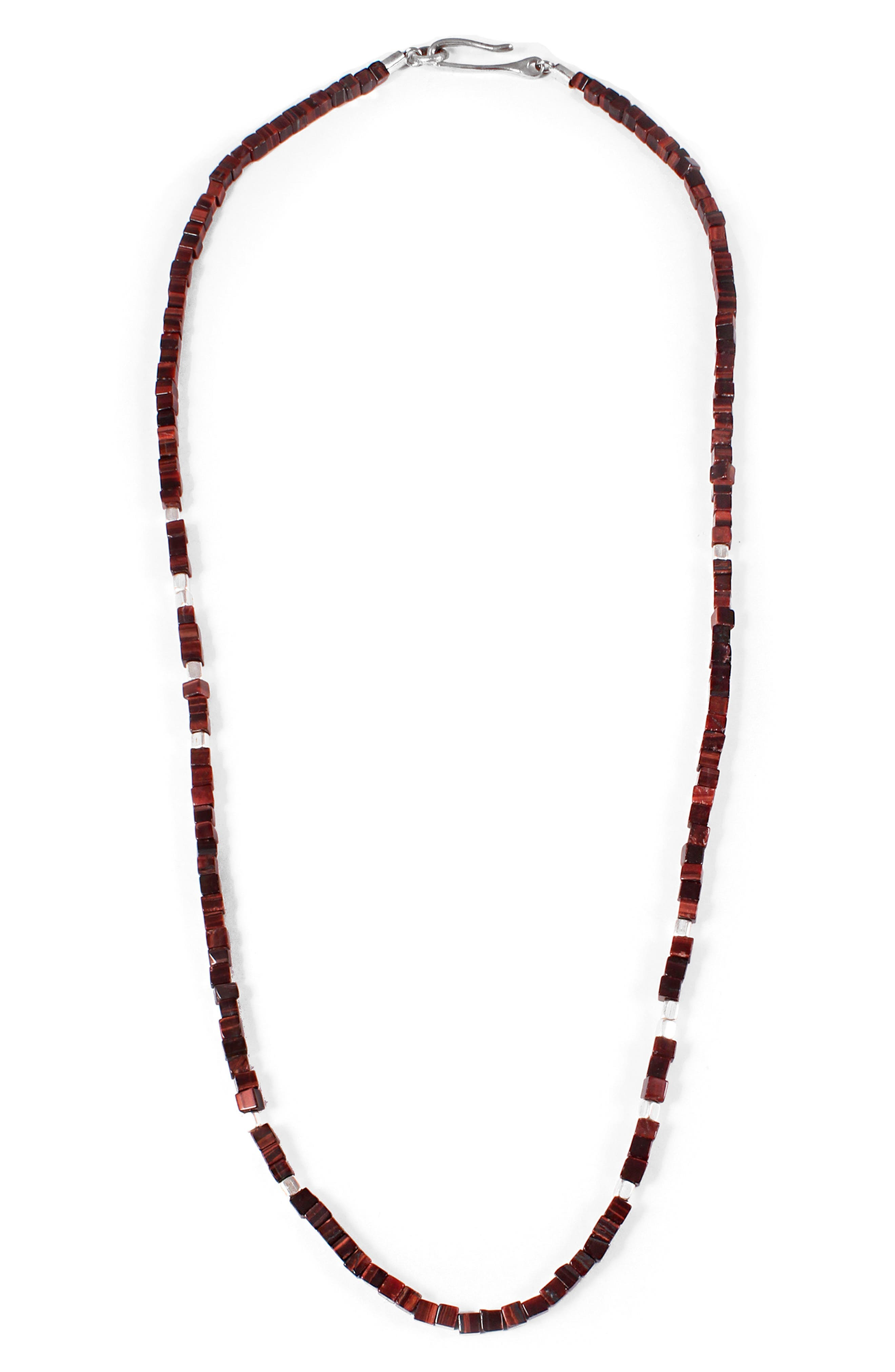 Life Morse Beaded Necklace,                         Main,                         color, Silver/ Tigers Eye