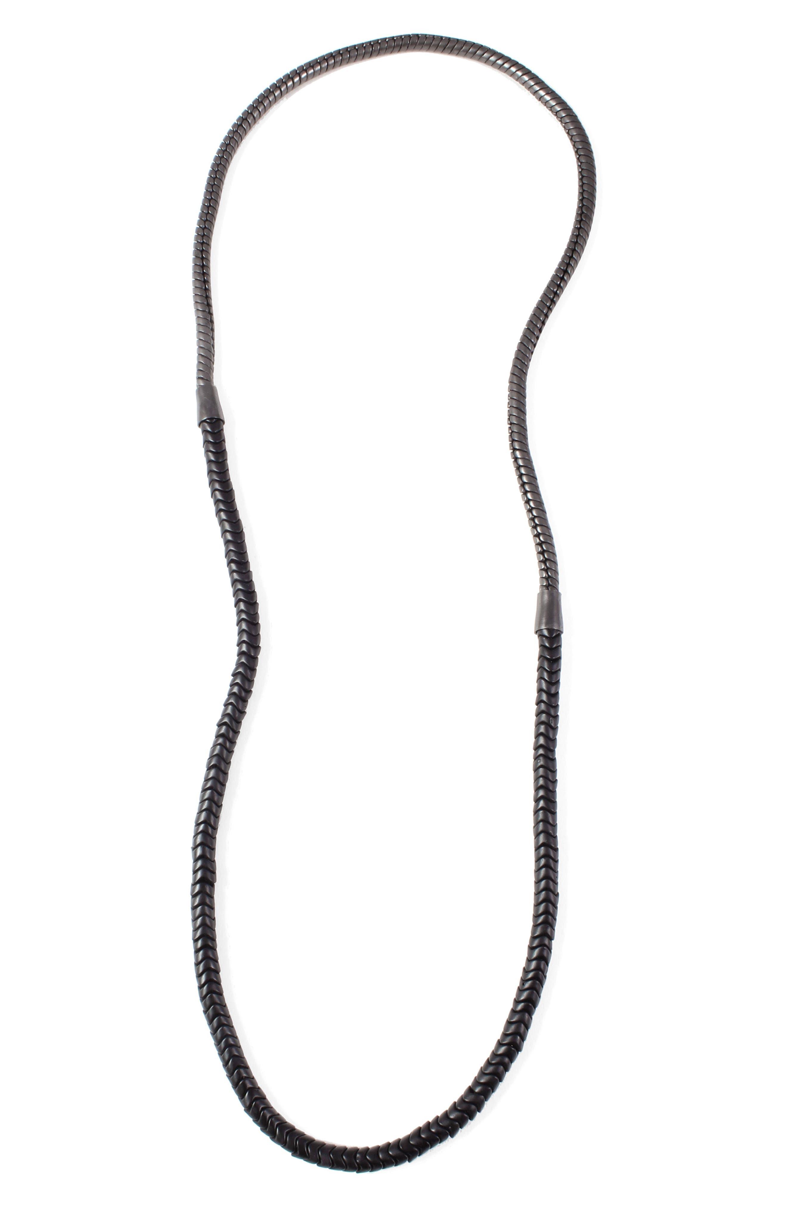 50/50 Necklace,                         Main,                         color, Hematite/ Black