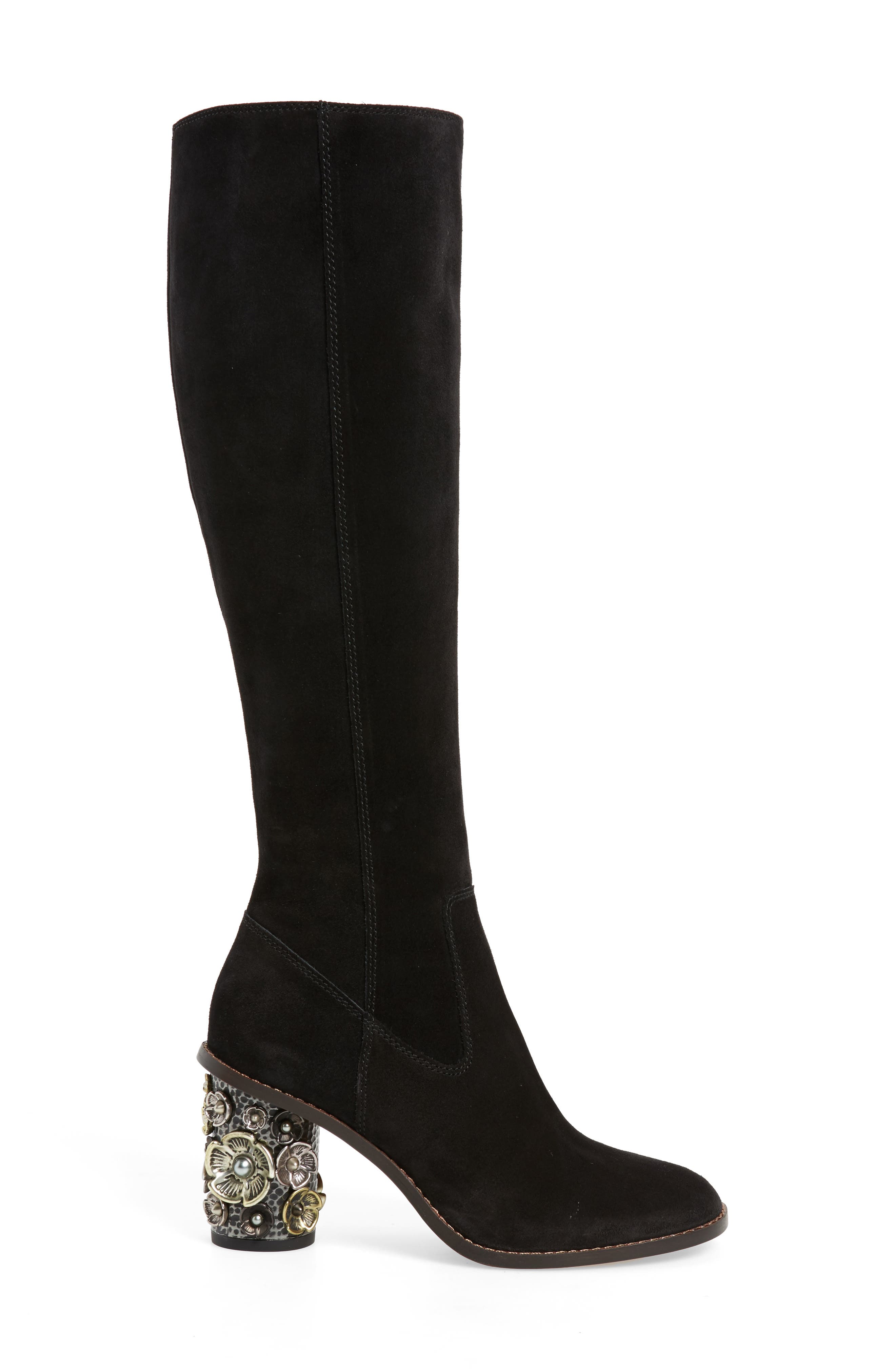 Tea Rose Heel Boot,                             Alternate thumbnail 3, color,                             Black Leather
