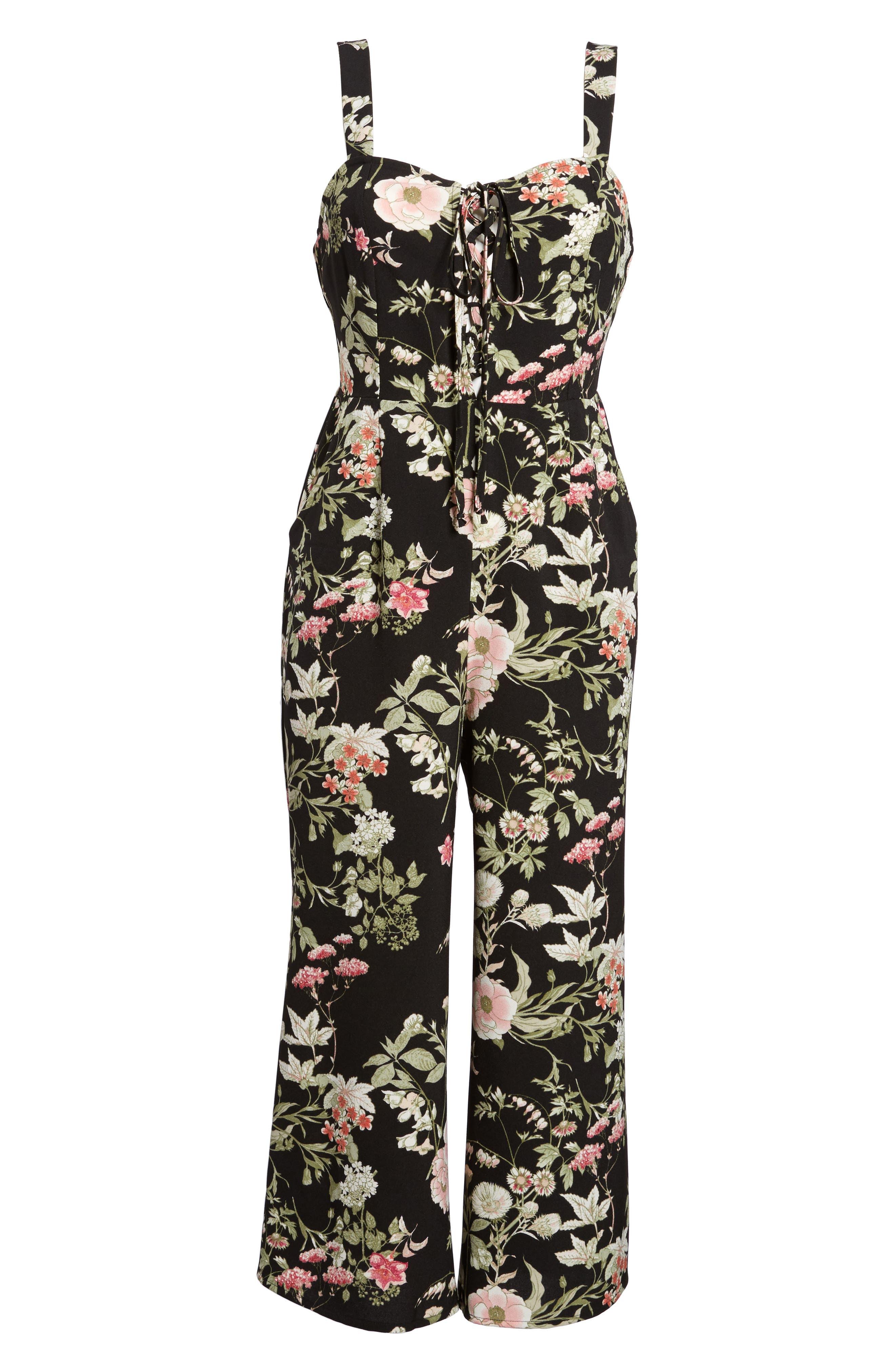 Print Wide Leg Jumpsuit,                             Alternate thumbnail 6, color,                             Black Floral