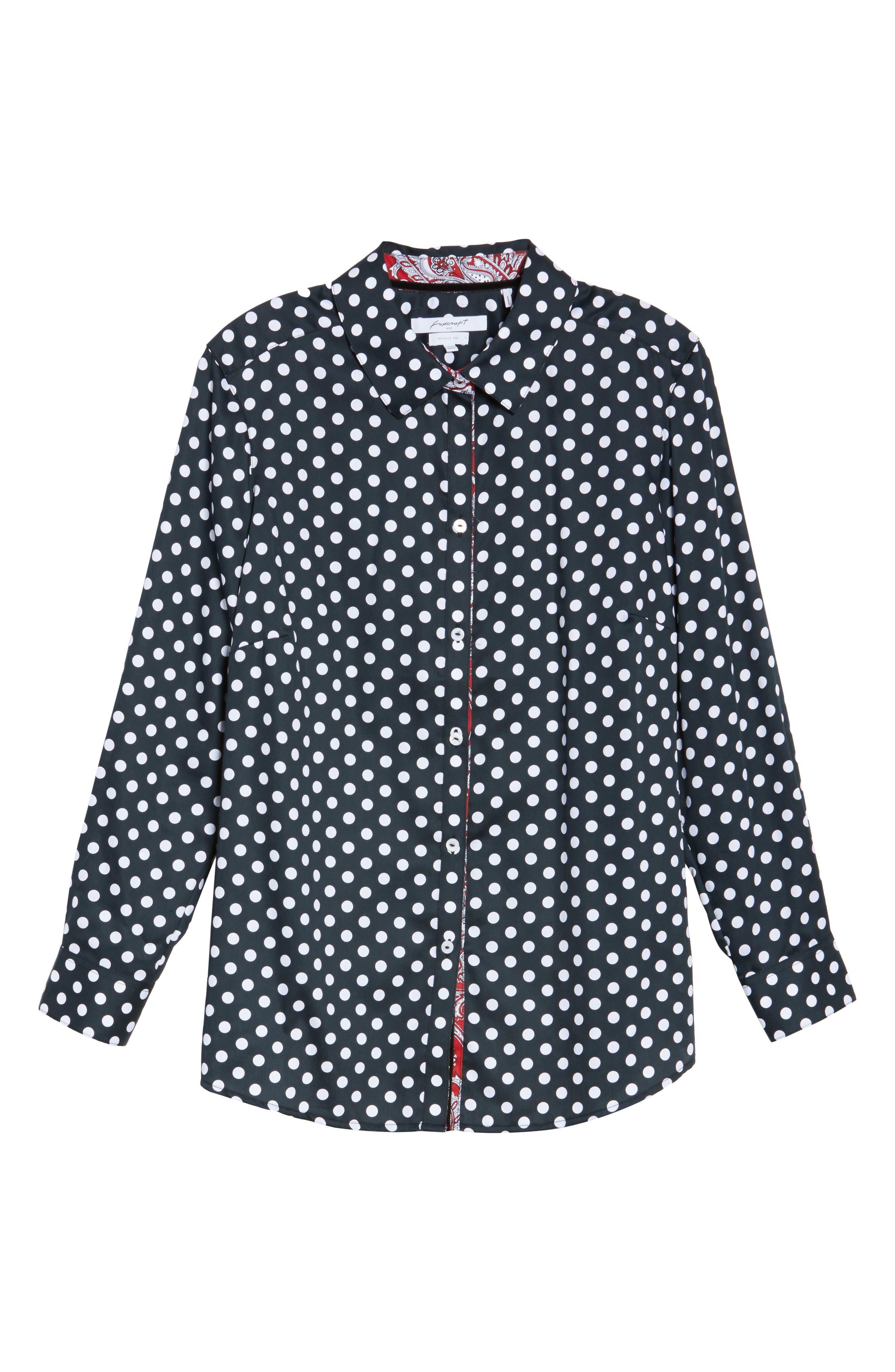 Ava Polka Dot Wrinkle-Free Shirt,                             Alternate thumbnail 6, color,                             Black