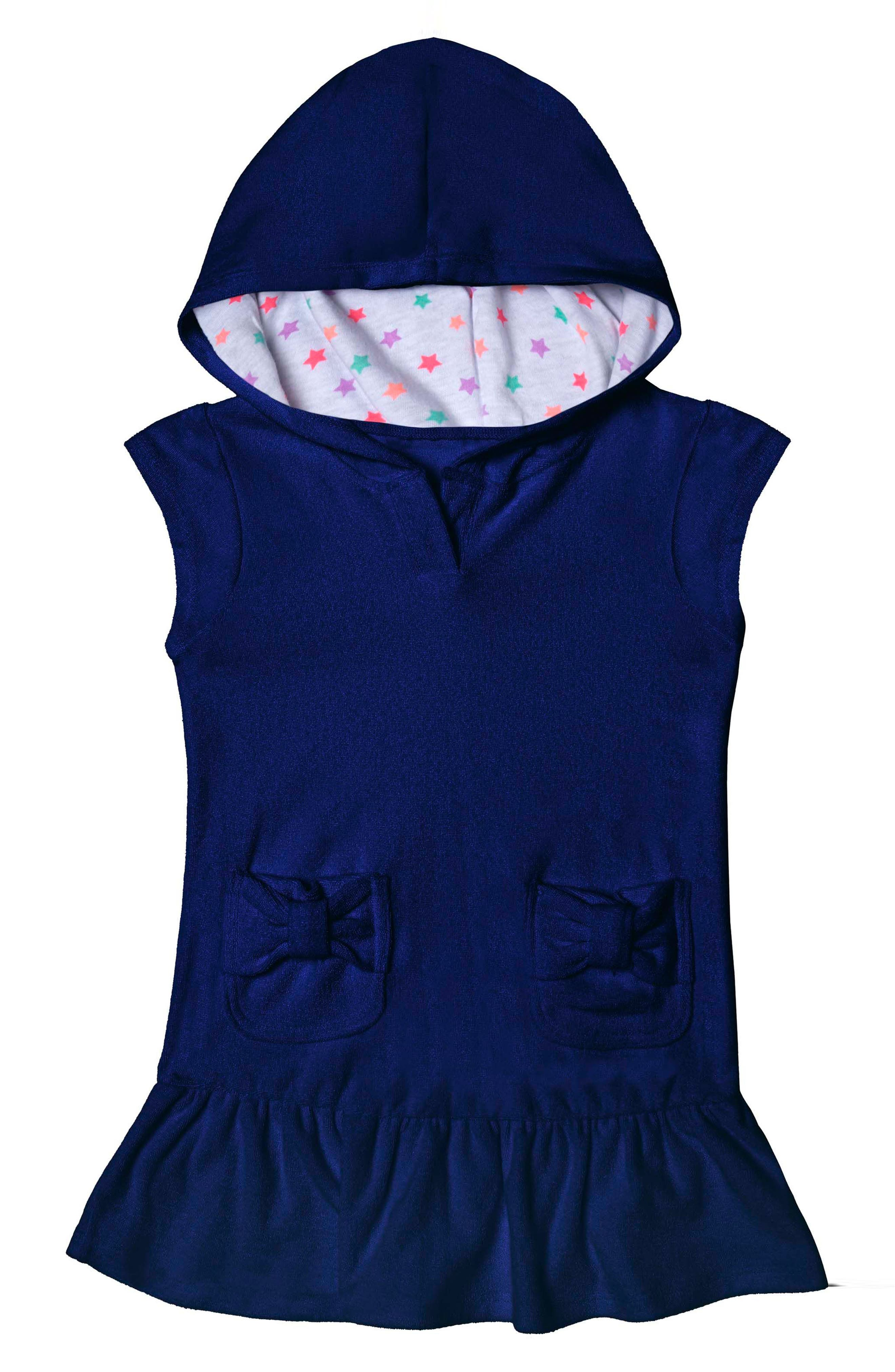 Main Image - Hula Star Cotton Cloud Hooded Cover-Up Dress (Toddler Girls & Little Girls)