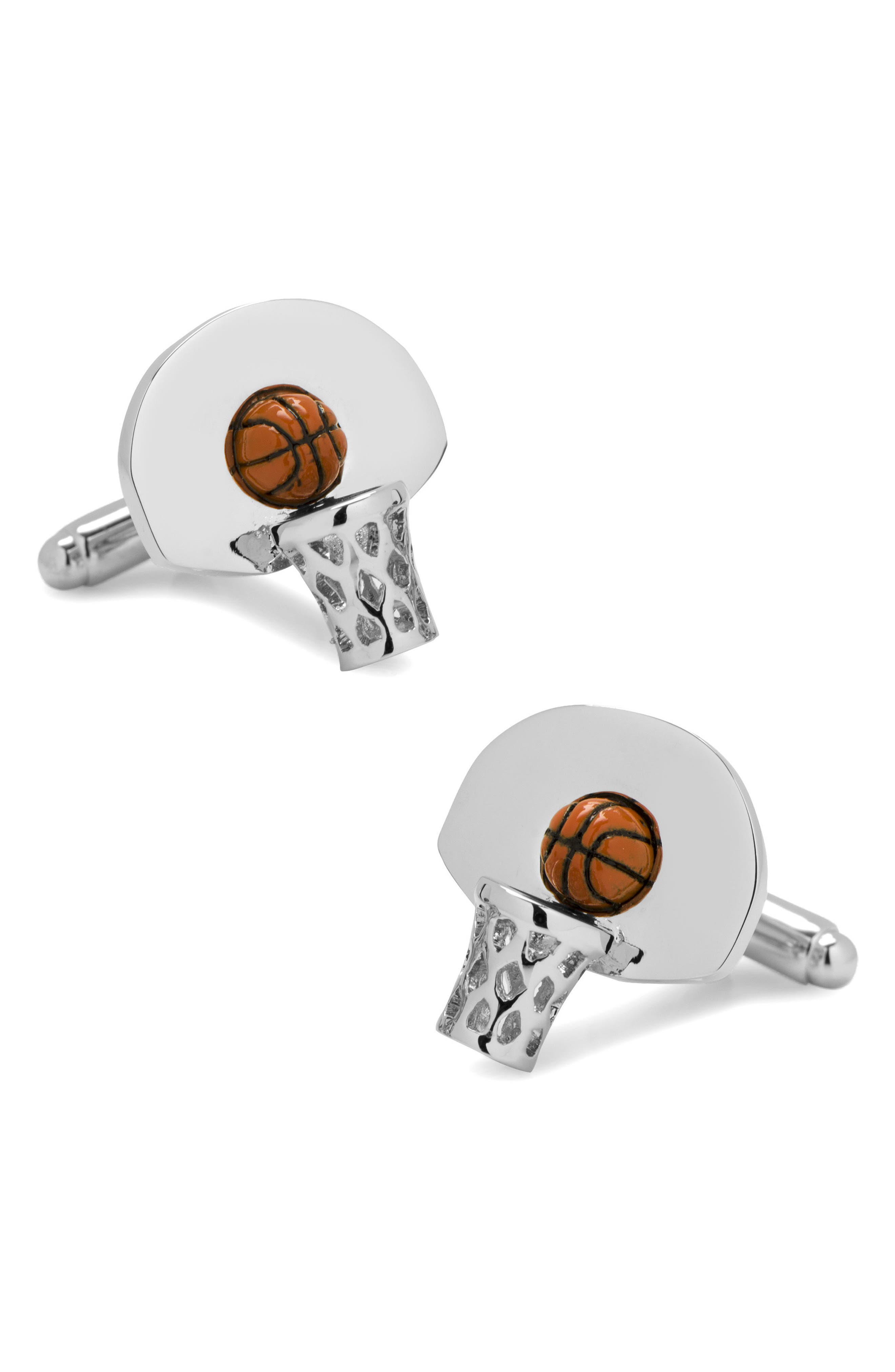 Basketball Hoop Cuff Links,                         Main,                         color, Silver