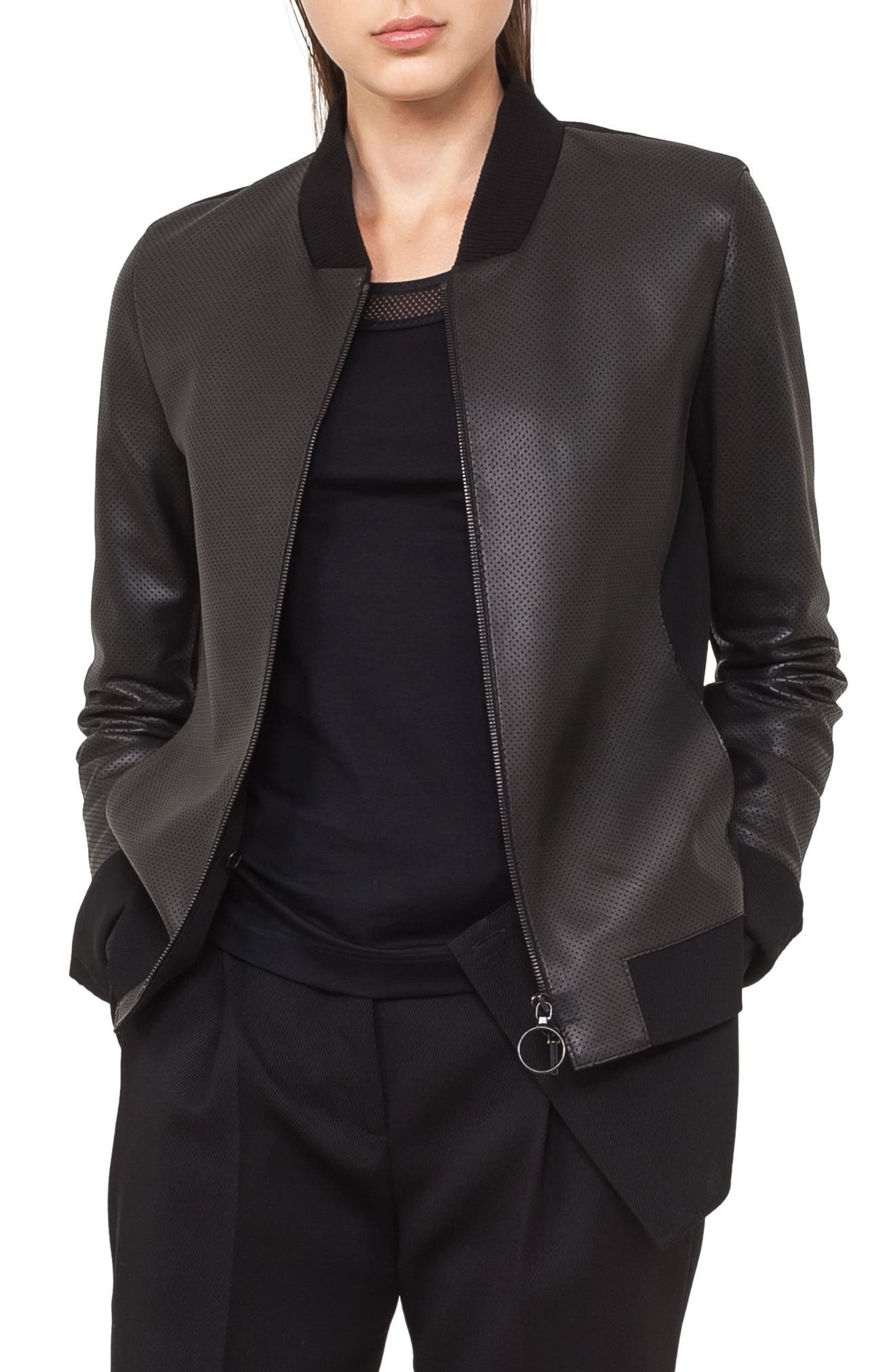 Detachable Hem Leather Bomber Jacket,                         Main,                         color, Black