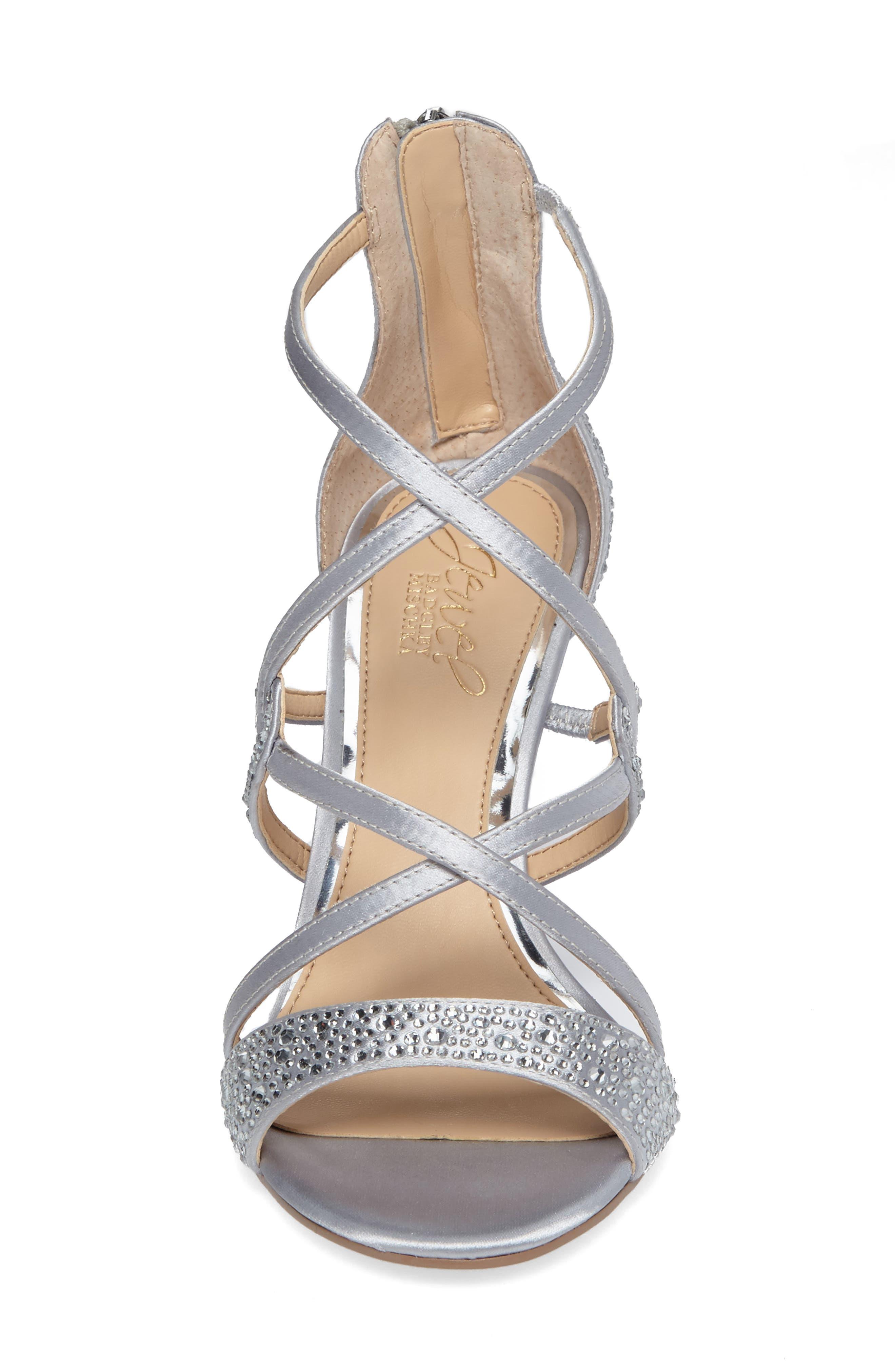 Ally II Embellished Wedge Sandal,                             Alternate thumbnail 4, color,                             Silver Satin