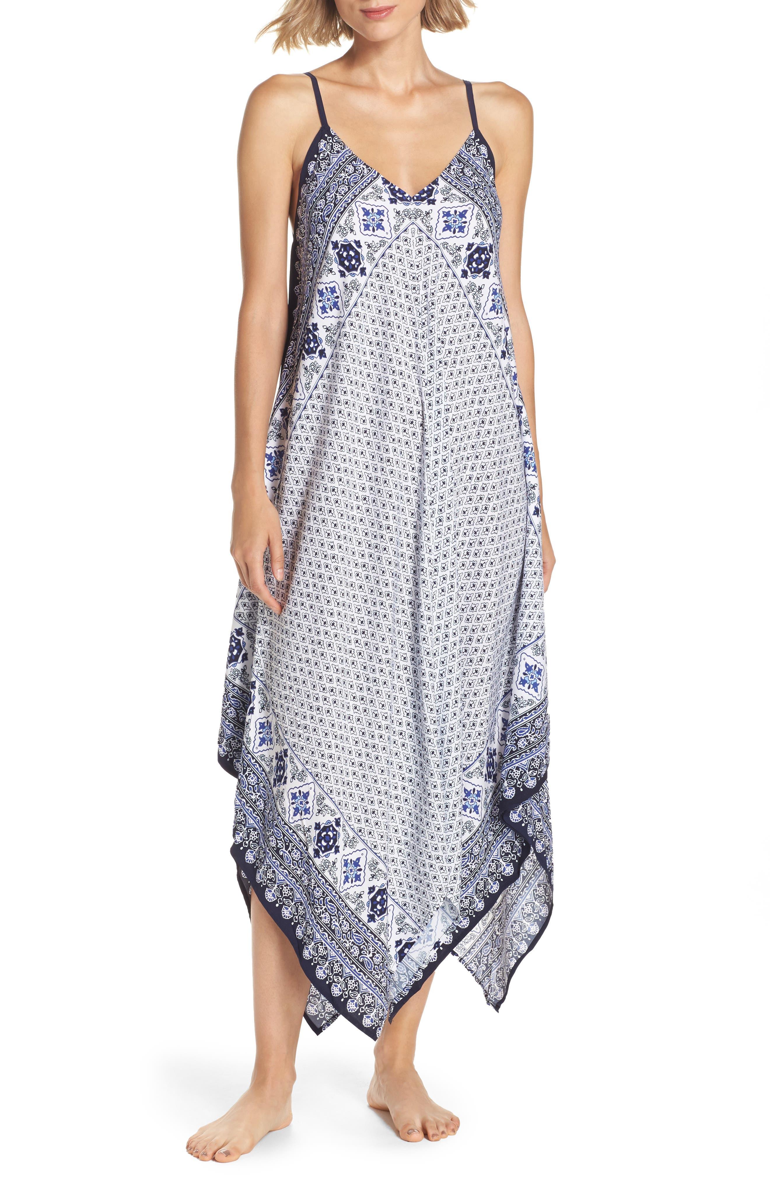 Border Print Cover-Up Maxi Dress,                         Main,                         color, Dark Sanibel