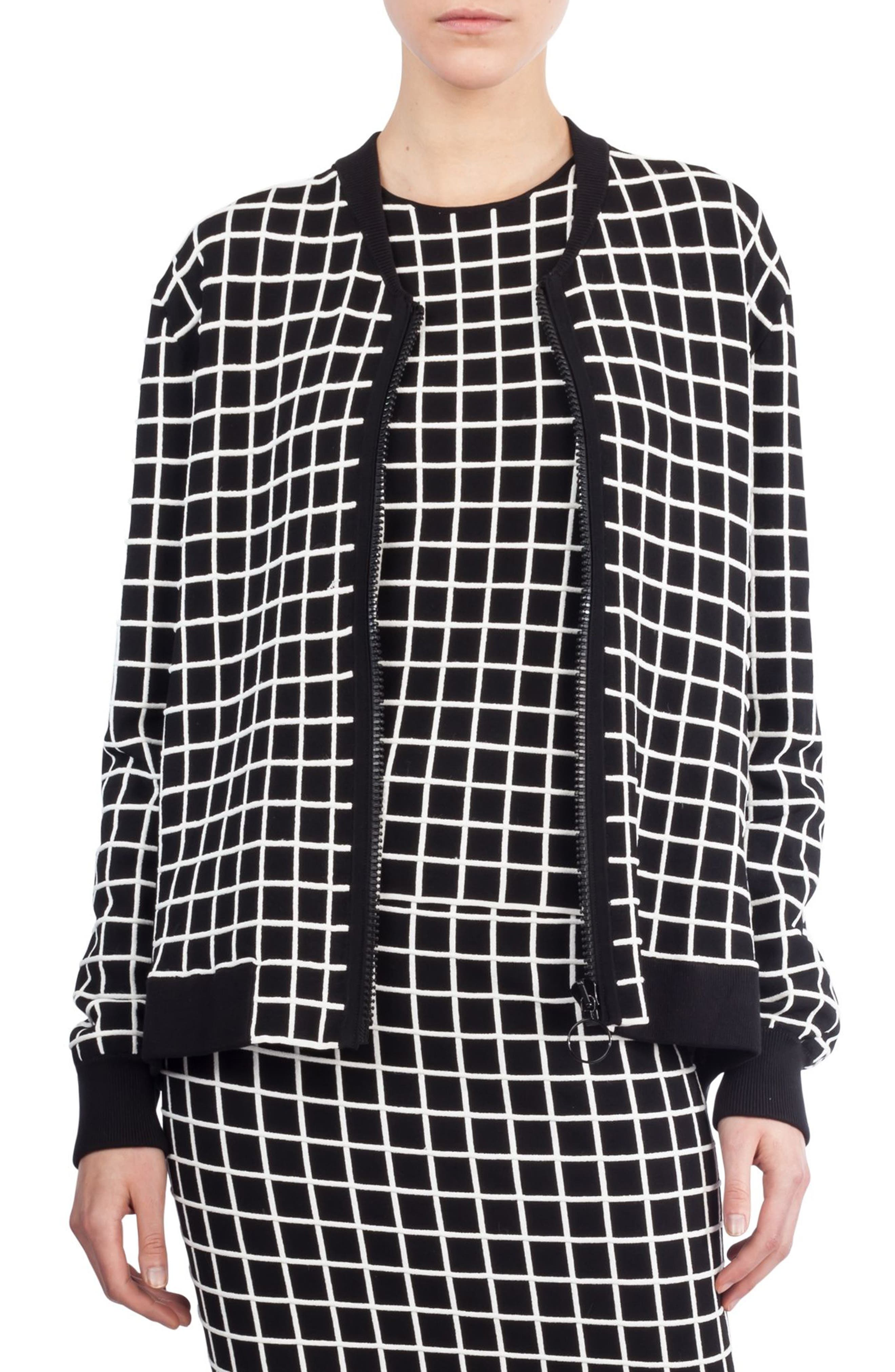 Main Image - Akris punto Grid Knit Bomber Jacket