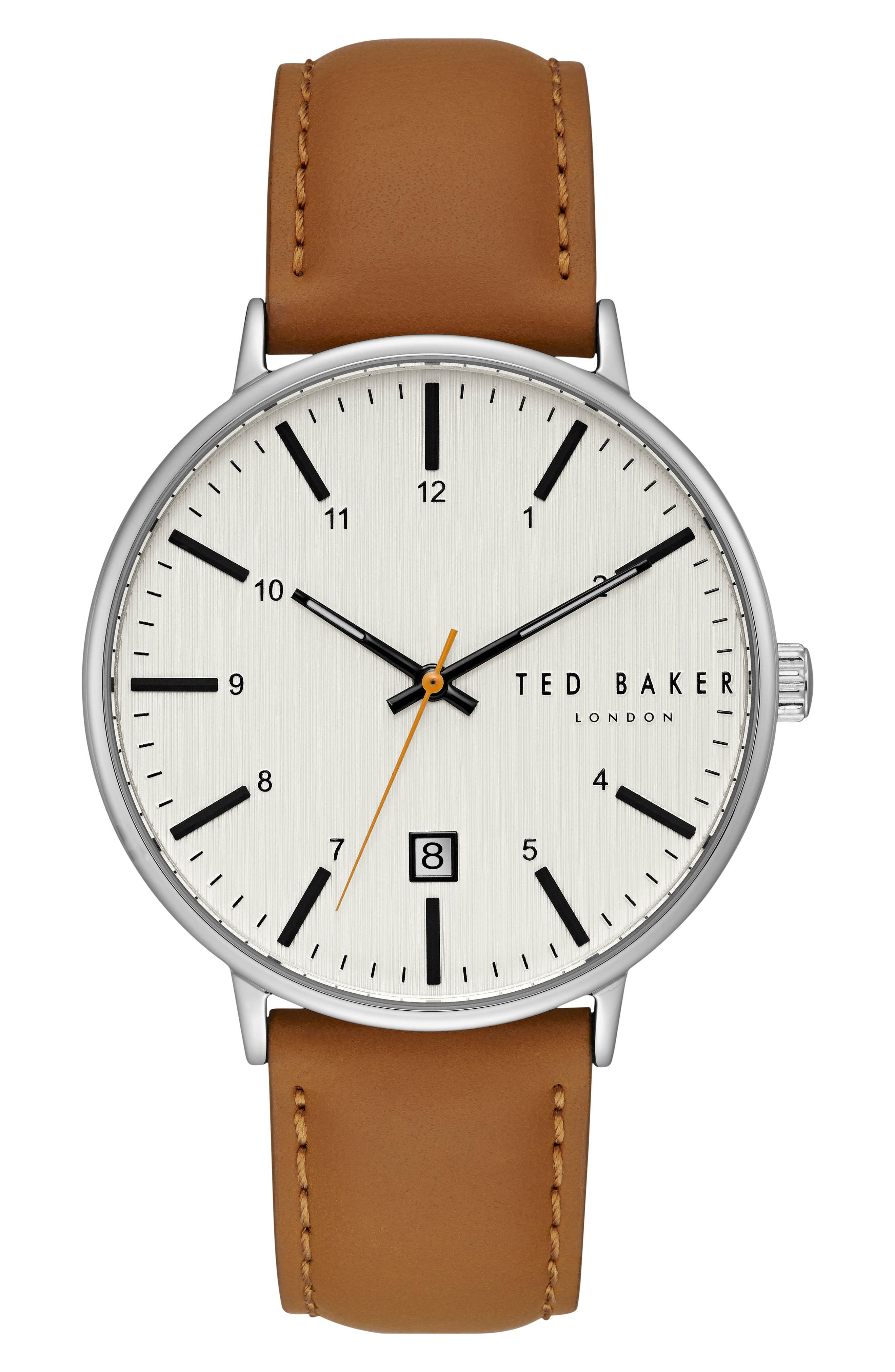 Main Image - Ted Baker London Harris Leather Strap Watch, 42mm