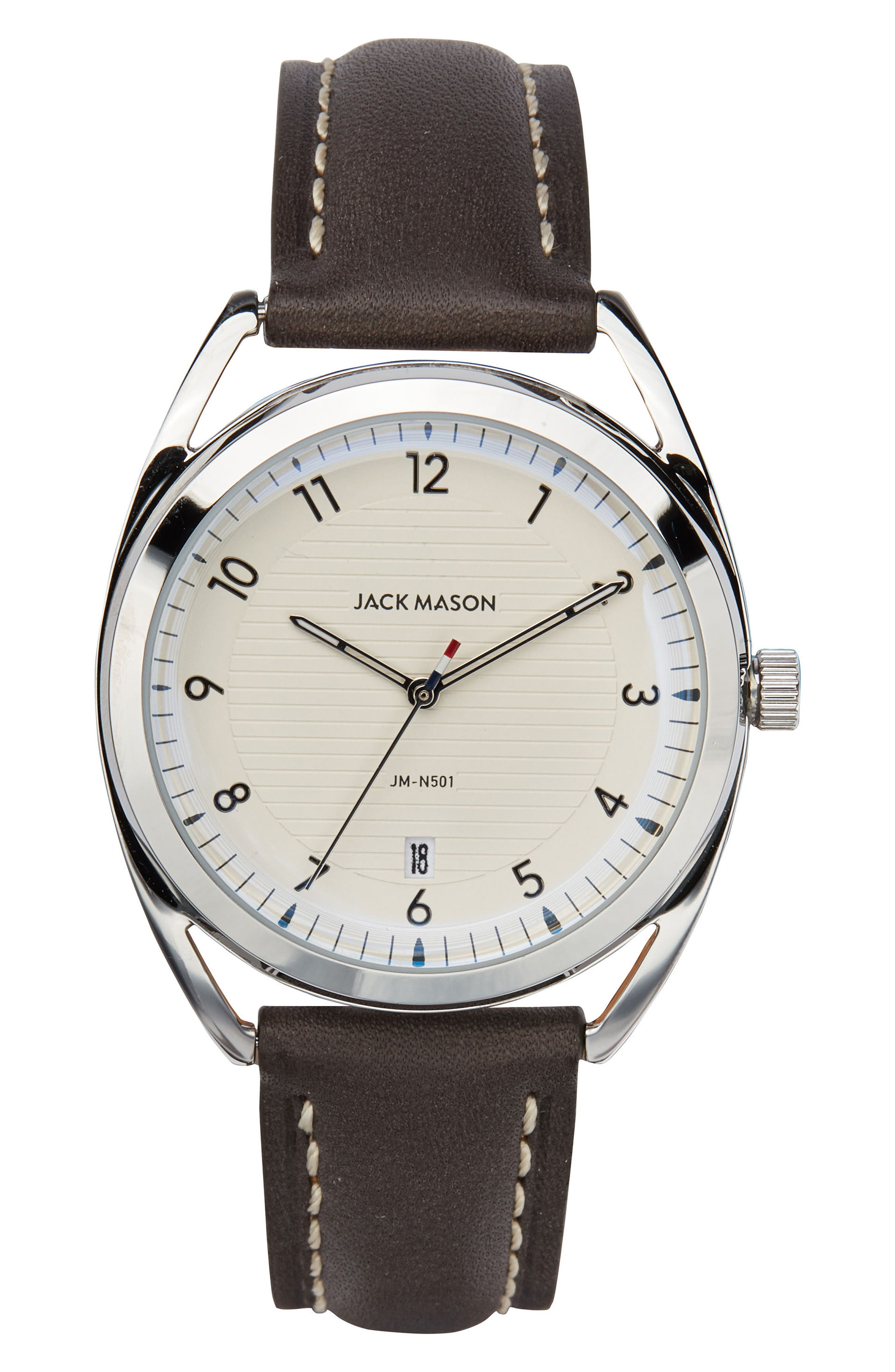 Deck Leather Strap Watch, 36mm,                         Main,                         color, Grey/ White/ Silver