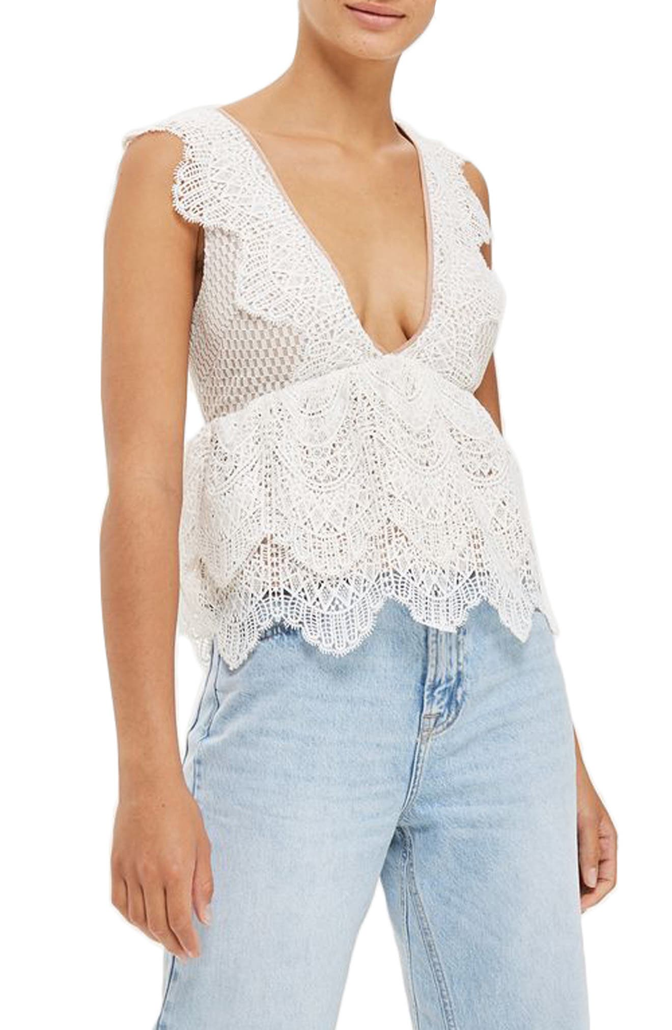 Plunging Lace Peplum Top,                         Main,                         color, Ivory