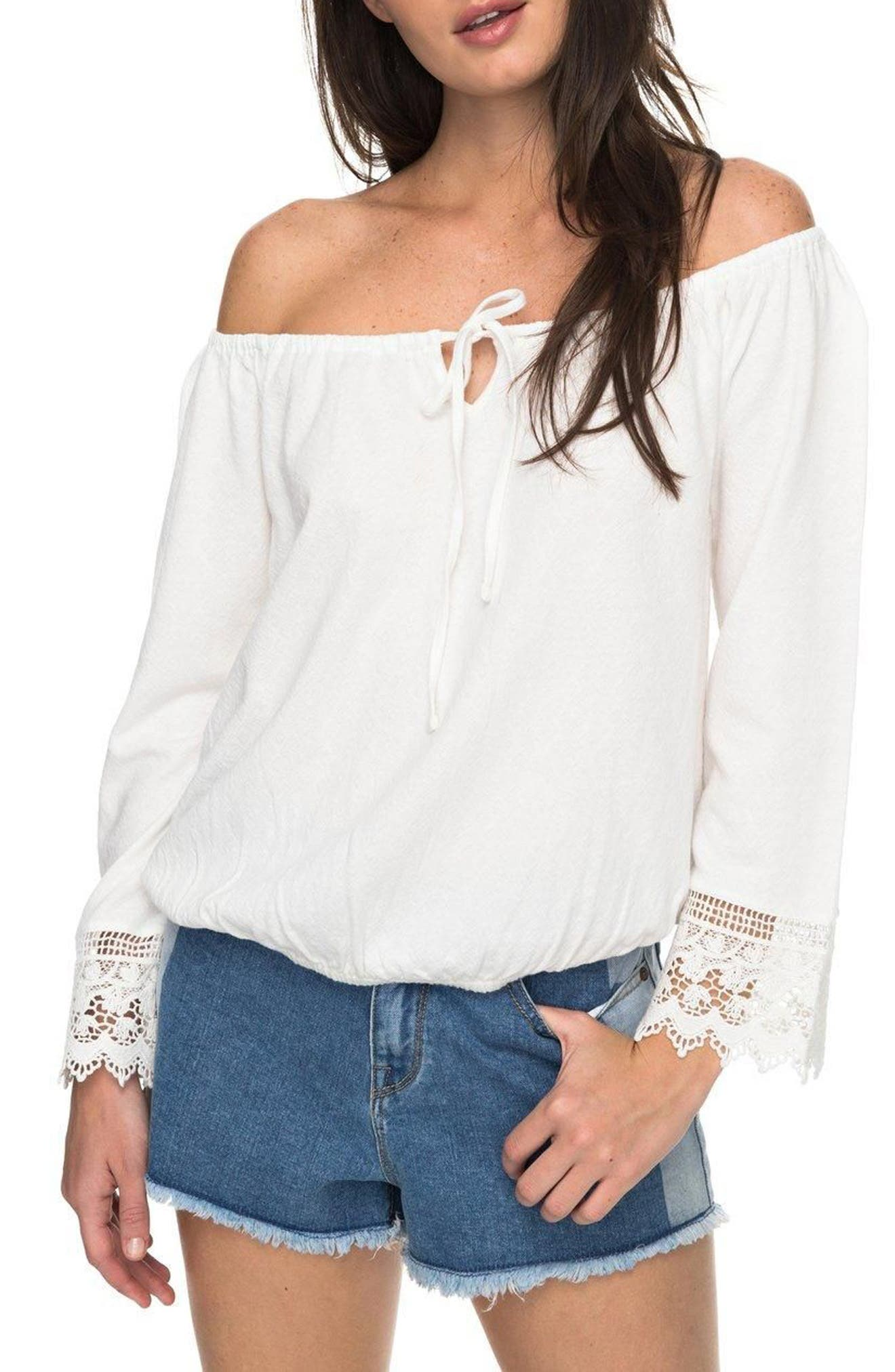 Alternate Image 1 Selected - Roxy Retro Revival Off the Shoulder Top