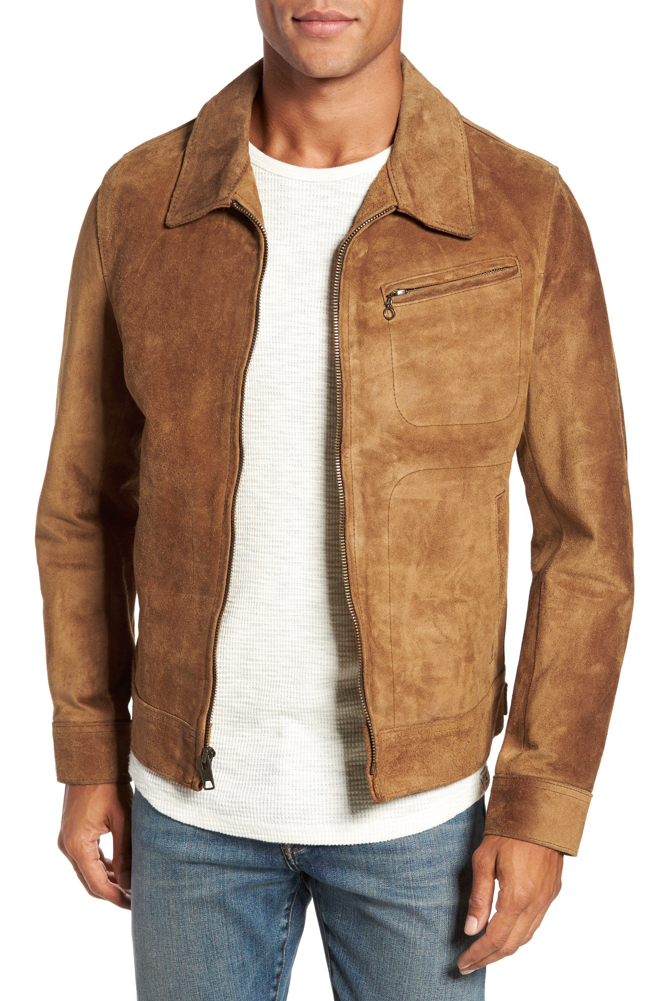Unlined Rough Out Oiled Cowhide Trucker Jacket,                         Main,                         color, Brown