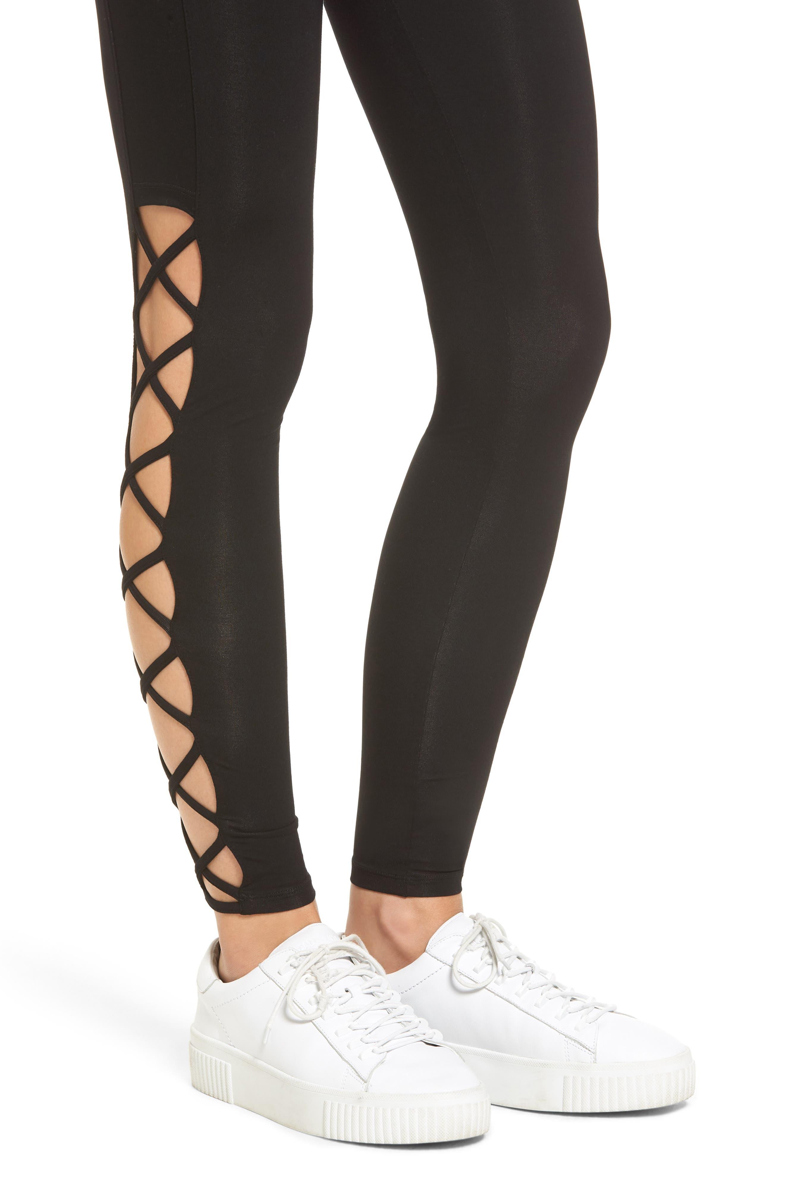 Lace-Up Leggings,                             Alternate thumbnail 4, color,                             Black