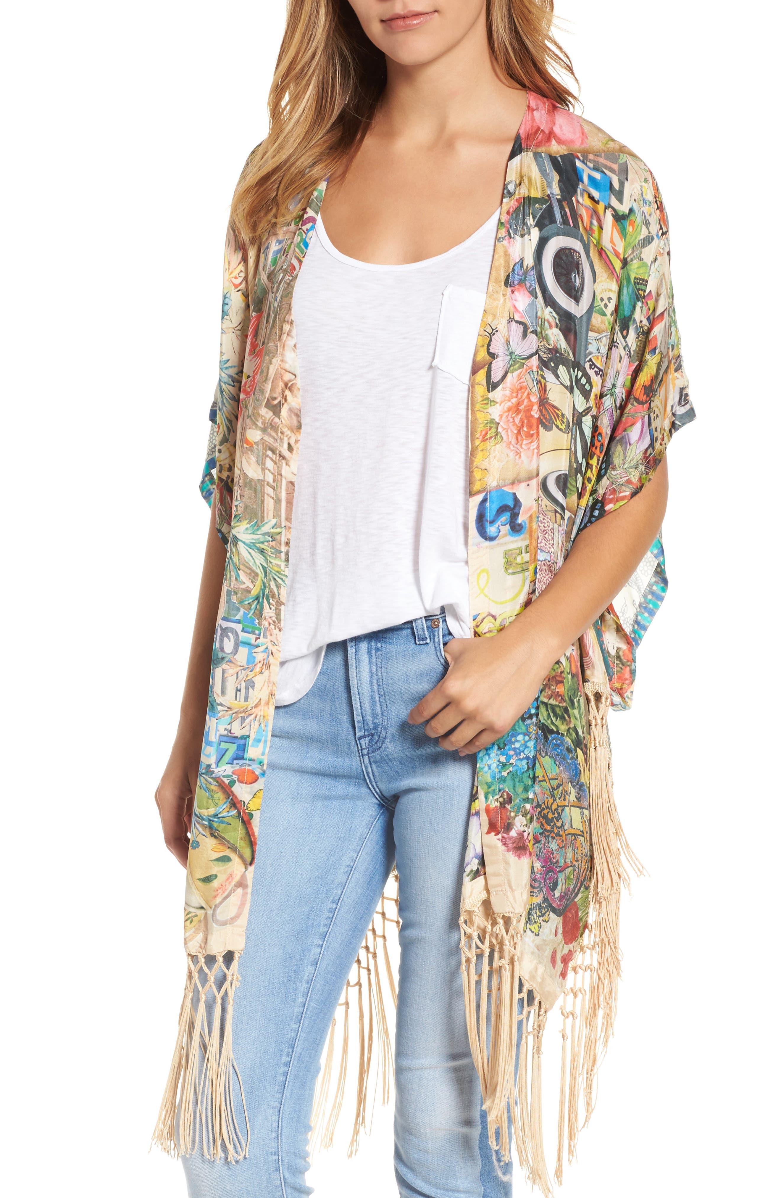 Johnny Was Multiprint Fringe Silk Kimono