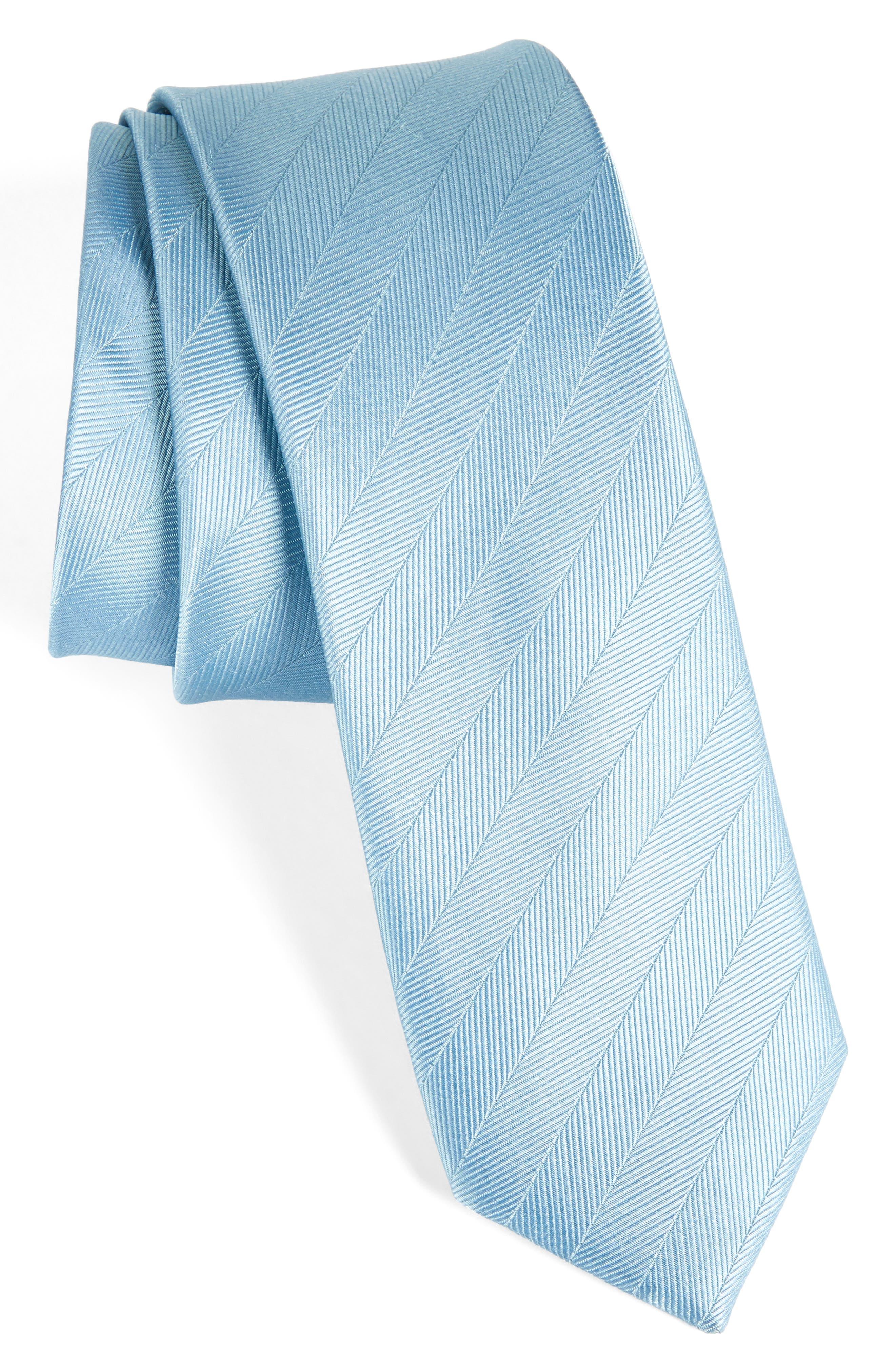 Herringbone Vow Silk Tie,                         Main,                         color, Steel Blue