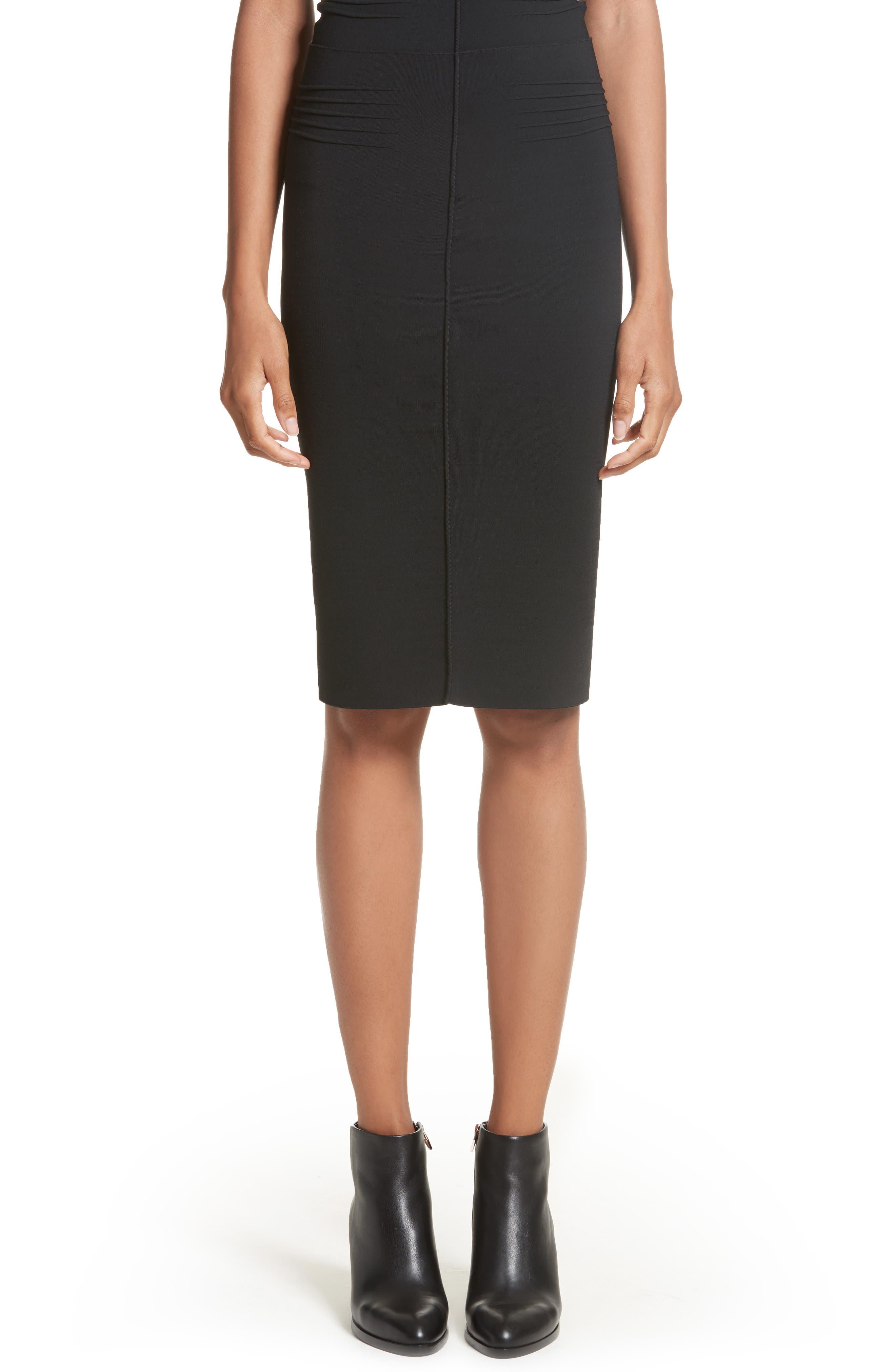 Knit Pencil Skirt,                             Main thumbnail 1, color,                             Black