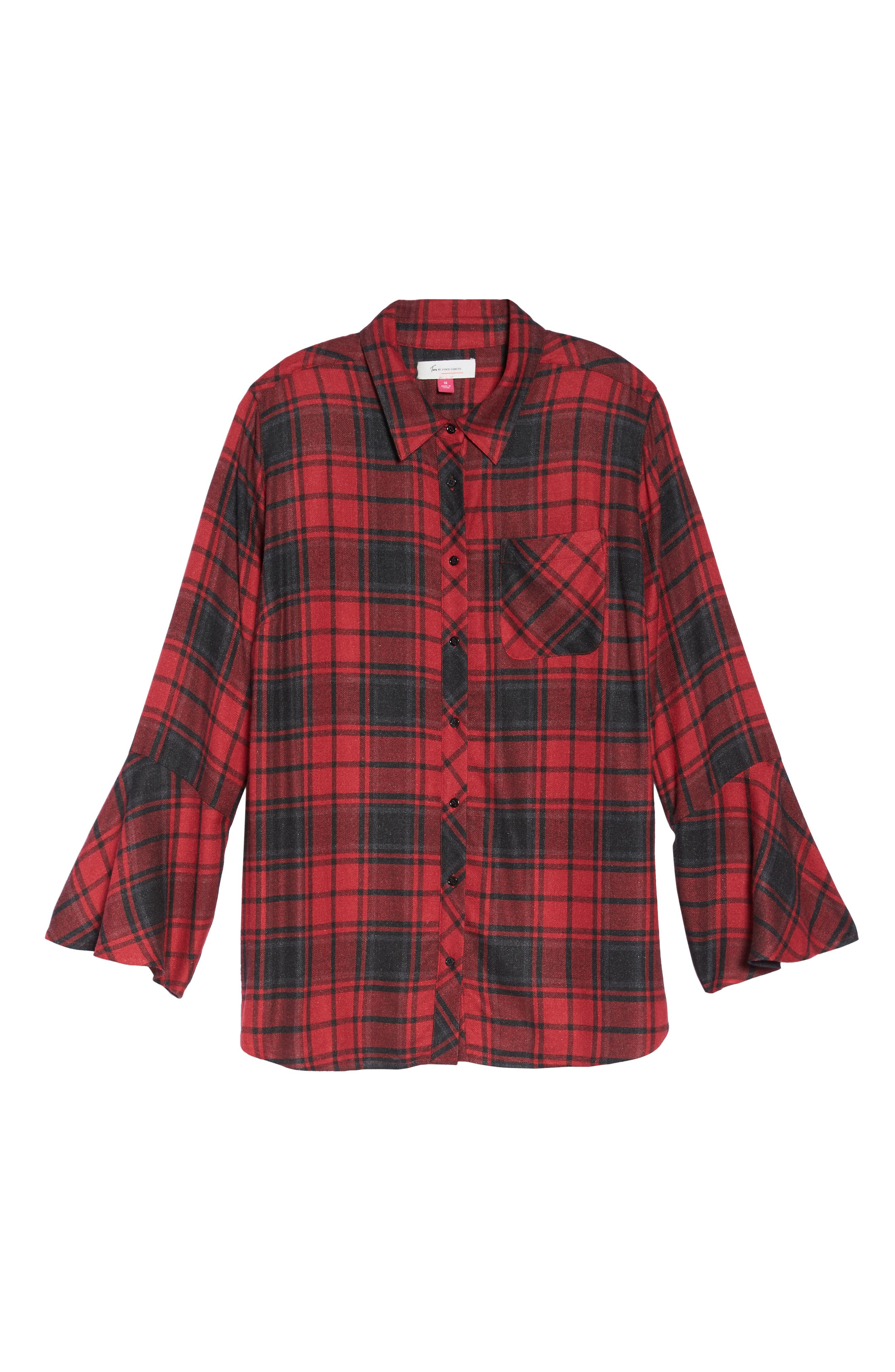 Stateside Bell Sleeve Shirt,                             Alternate thumbnail 6, color,                             Russet Red