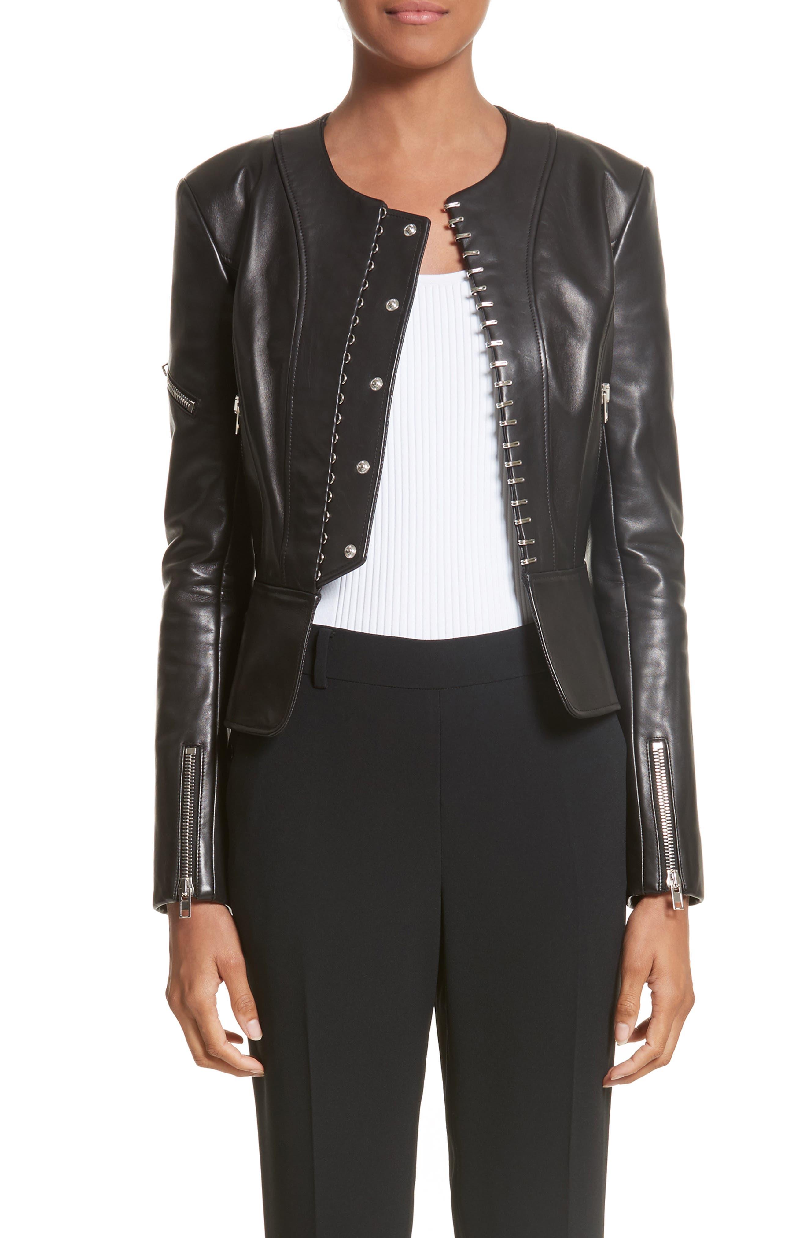 Hook Detail Lambskin Leather Jacket,                             Main thumbnail 1, color,                             Black
