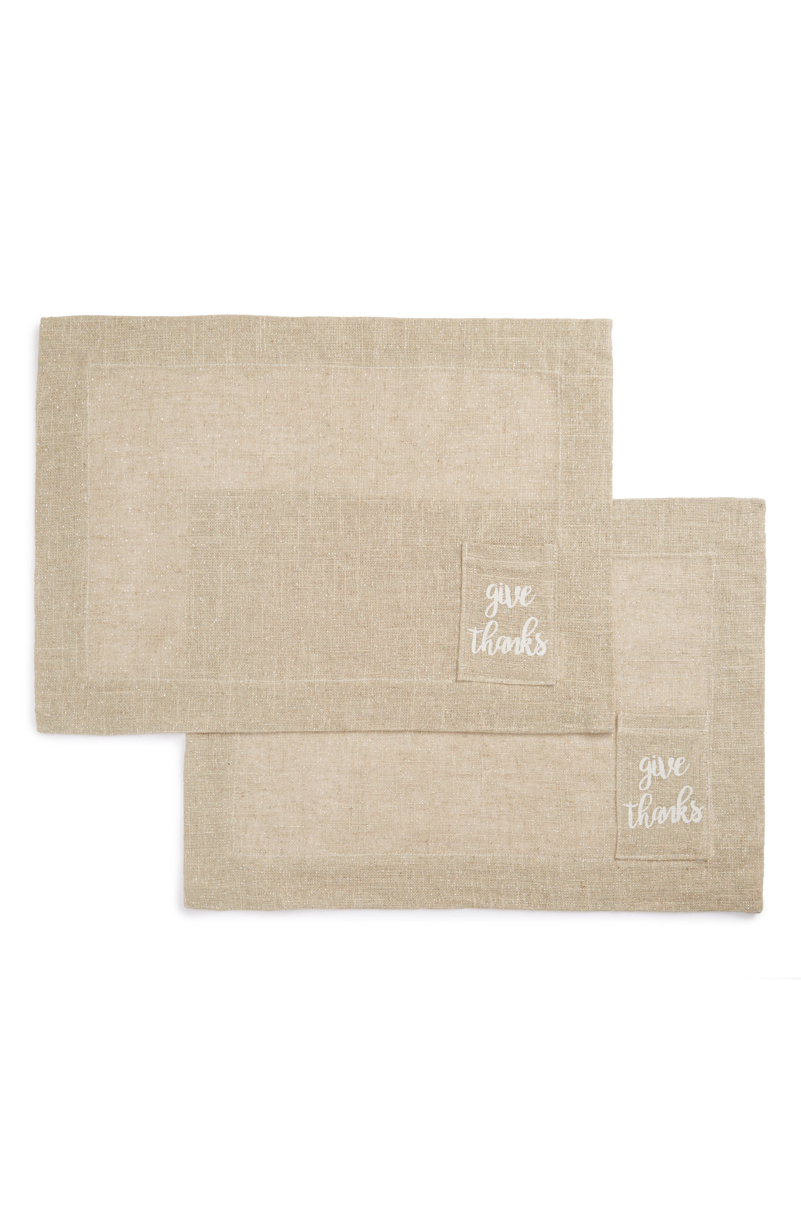 Give Thanks Set of 2 Placemats,                         Main,                         color, Natural