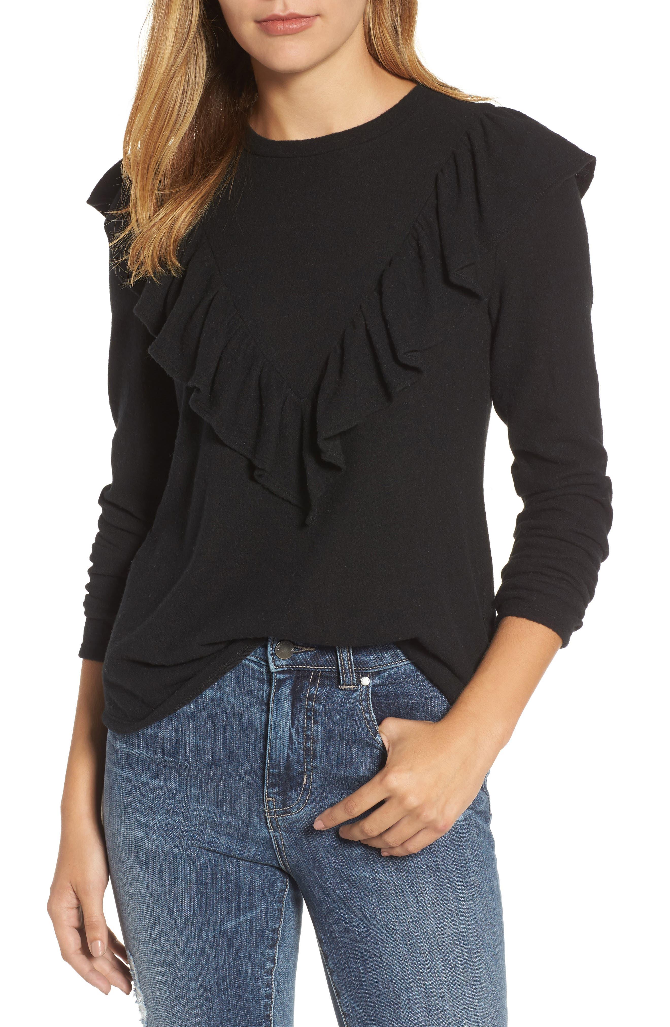 Caslon® Ruffle Knit Top (Regular & Petite)