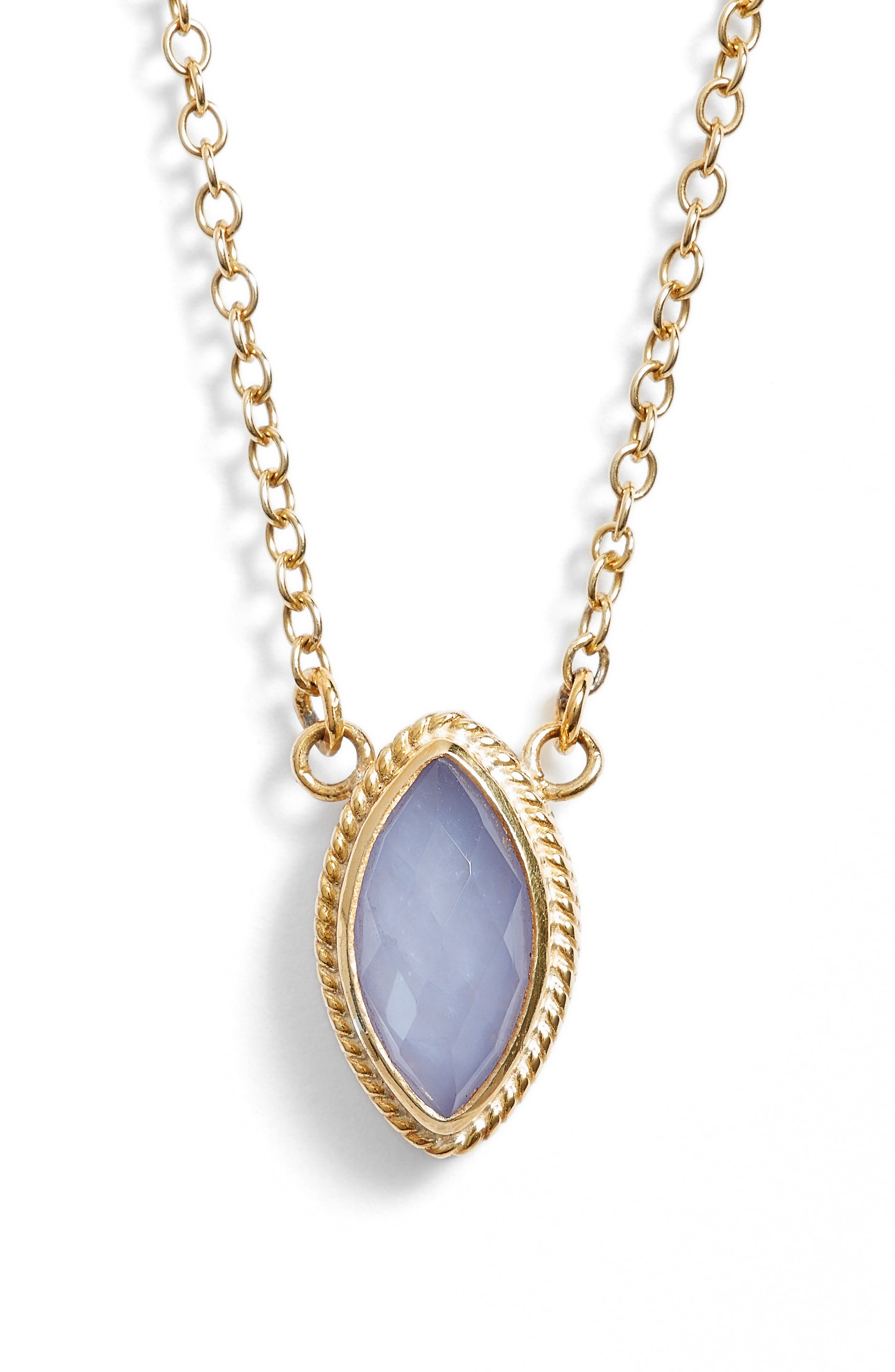 Chalcedony Doublet Pendant Necklace,                         Main,                         color, Gold/ Blue Chalcedony