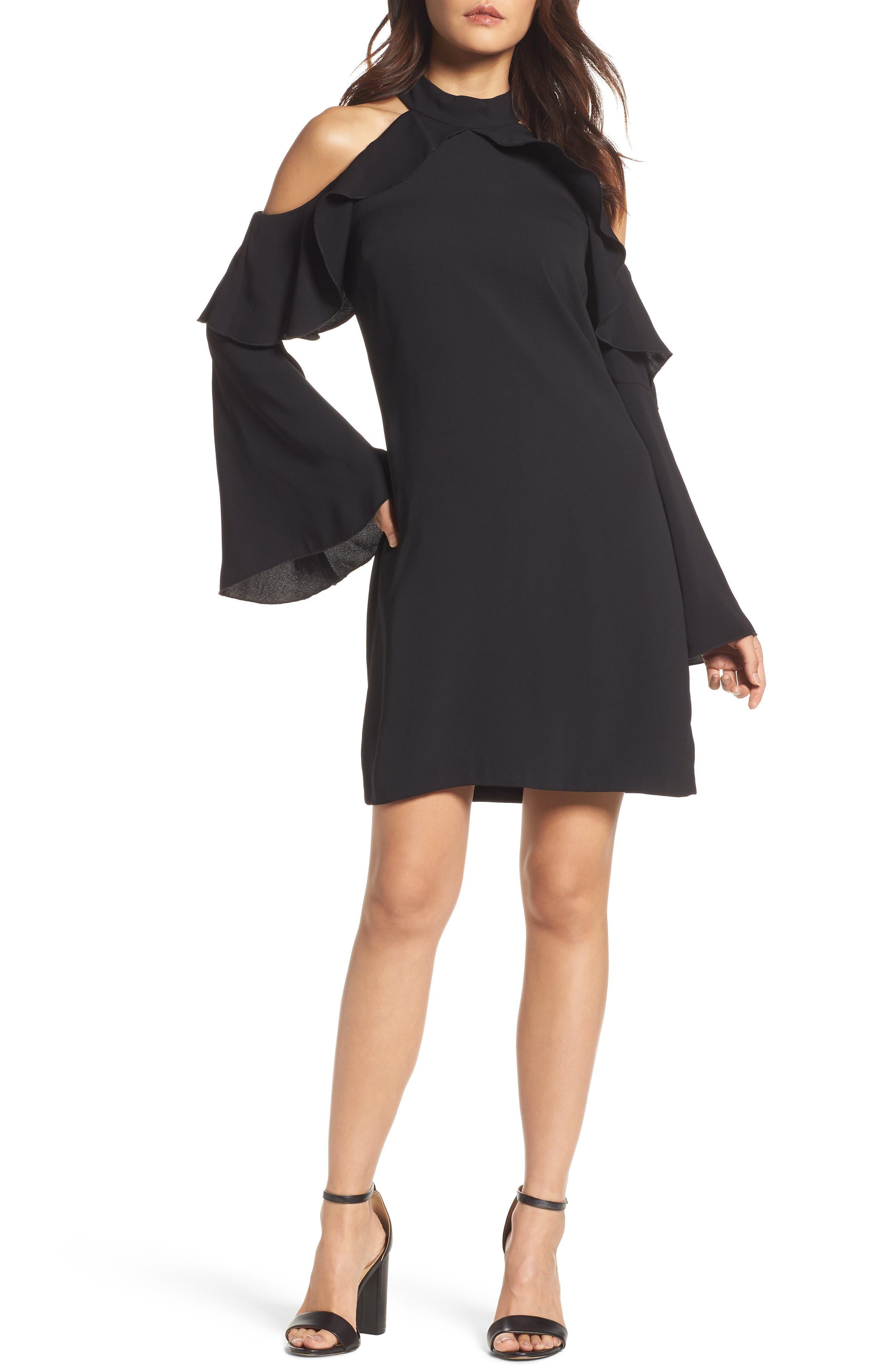 Sydney Cold Shoulder Dress,                         Main,                         color, Black