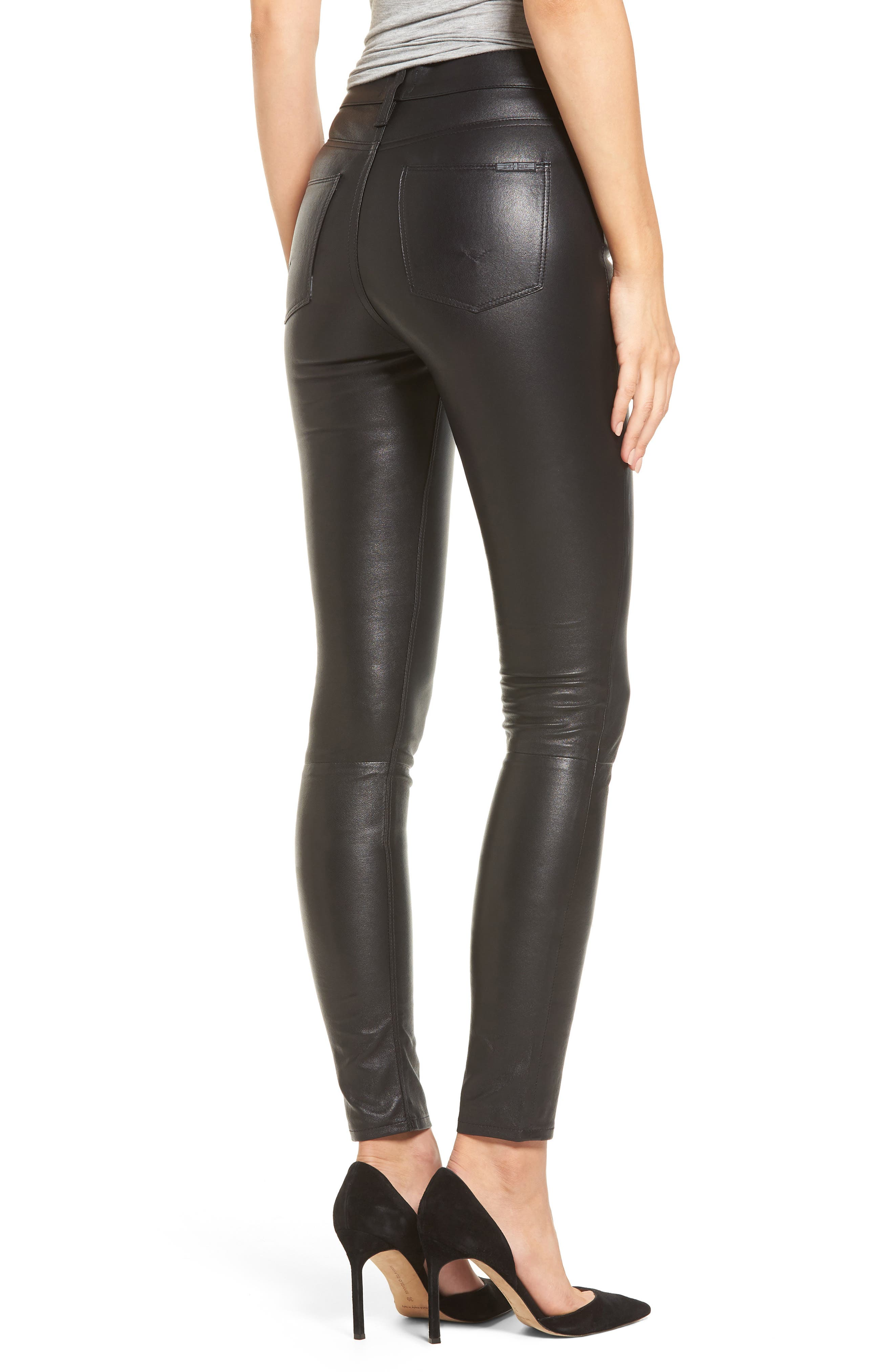 Barbara High Waist Ankle Skinny Leather Pants,                             Alternate thumbnail 2, color,                             Black Leather