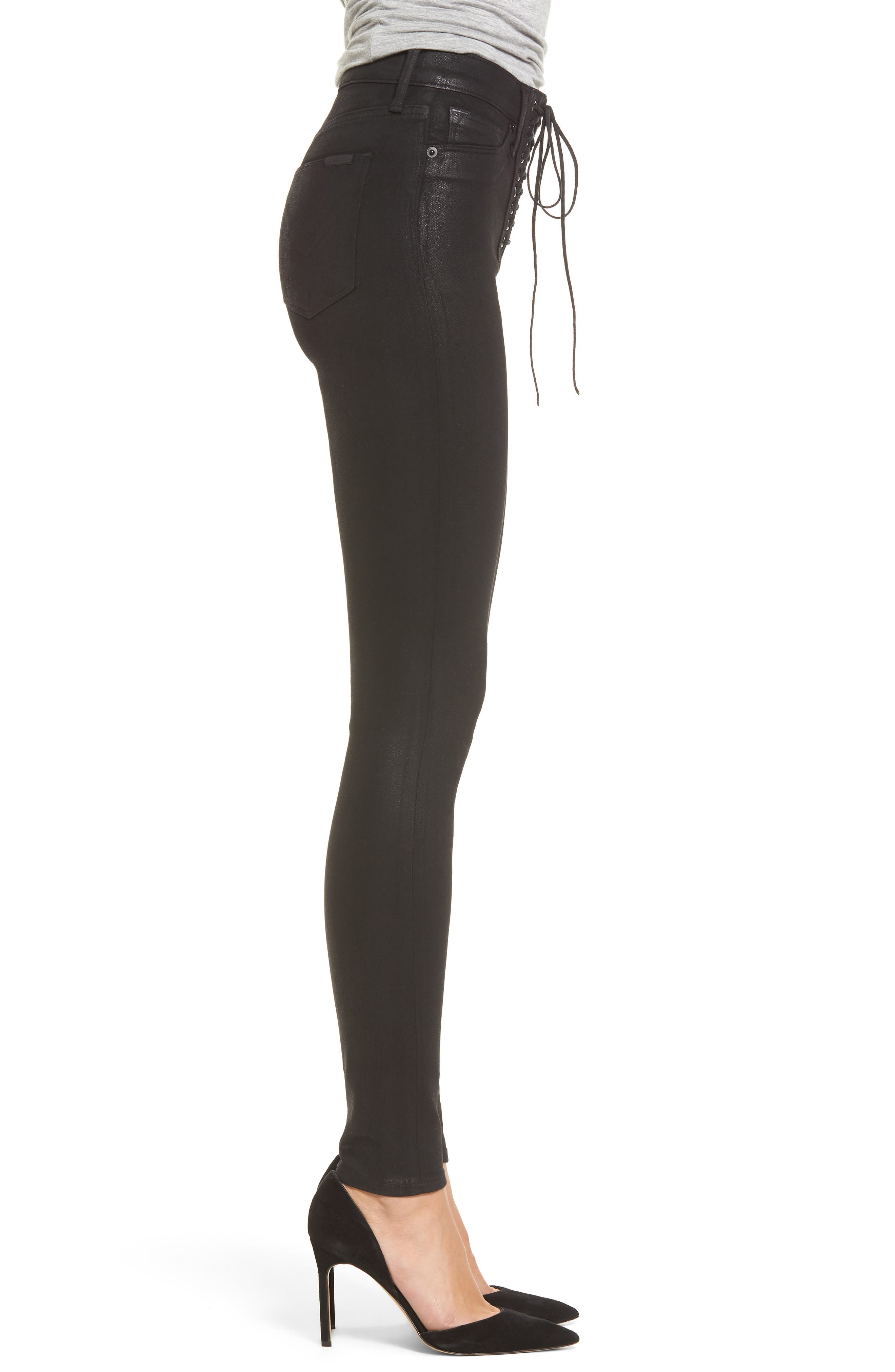Alternate Image 3  - Hudson Jeans Bullocks High Waist Lace-Up Skinny Jeans (Black Coated)