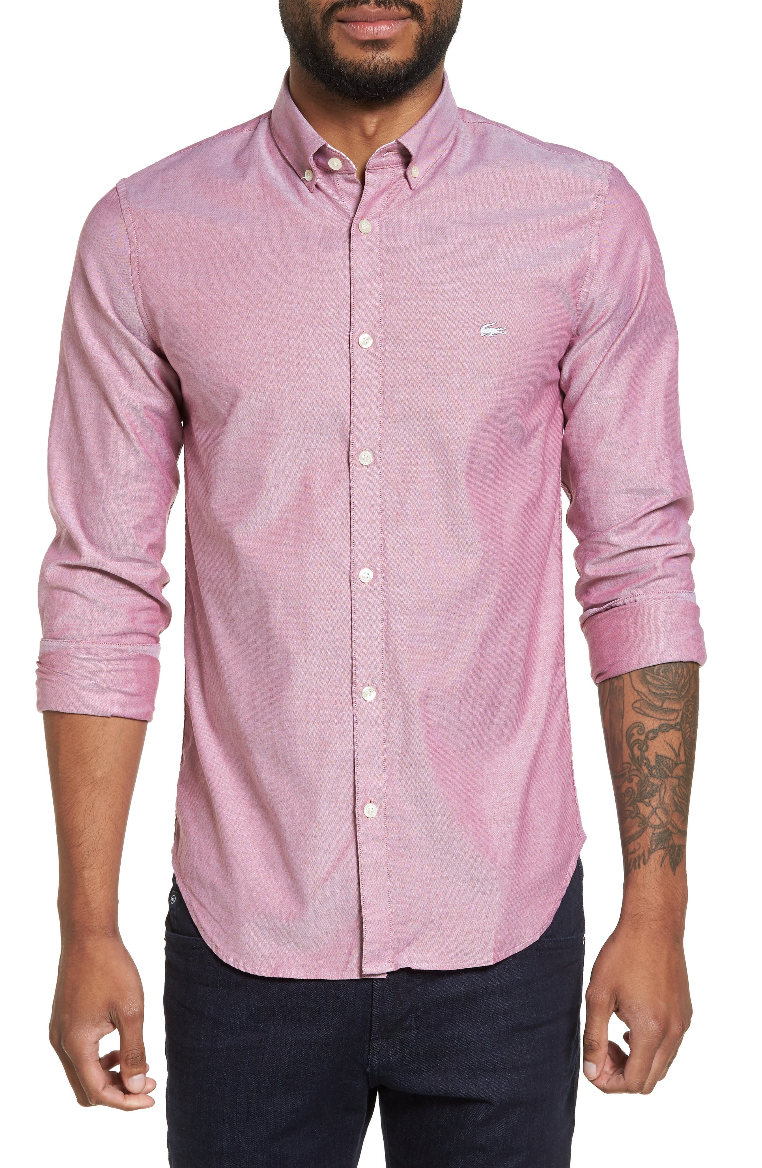 Button-Down Sport Shirt,                         Main,                         color, Turkey Red/ White