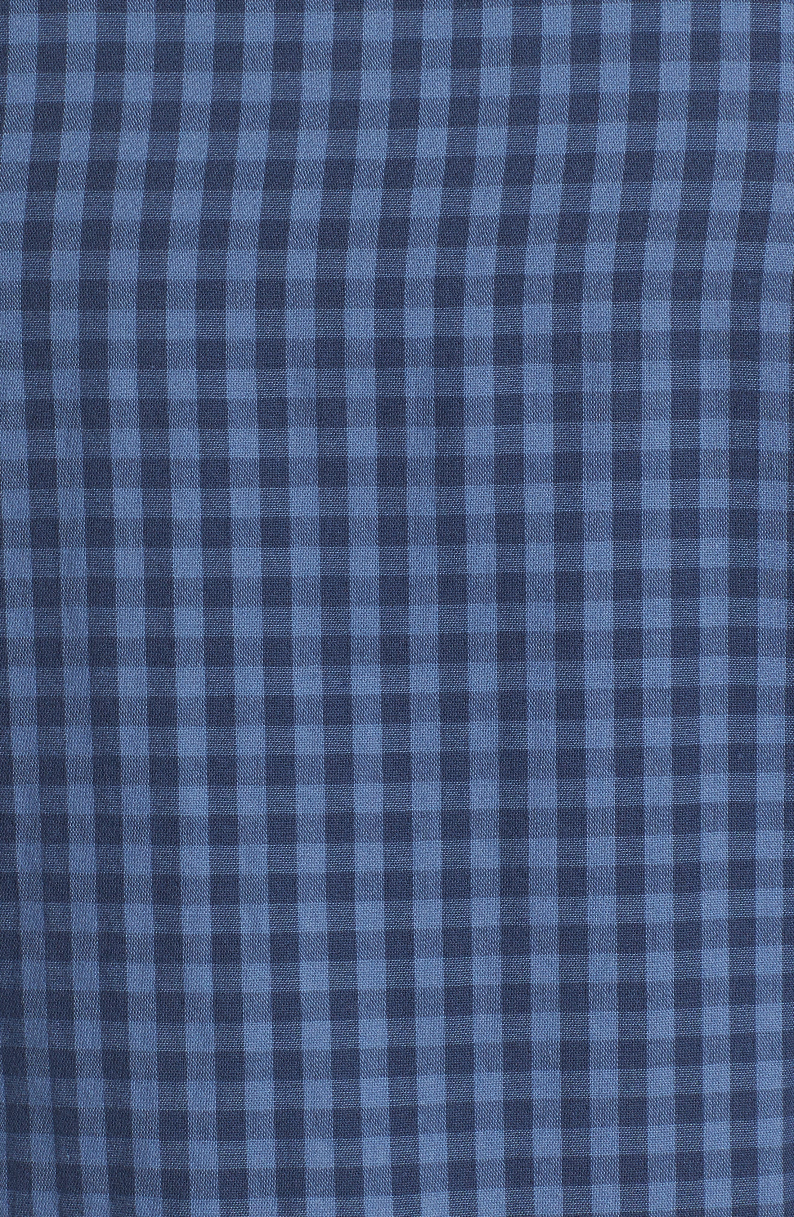 Trim Fit Duofold Check Sport Shirt,                             Alternate thumbnail 5, color,                             Blue Canal Navy Plaid Duofold