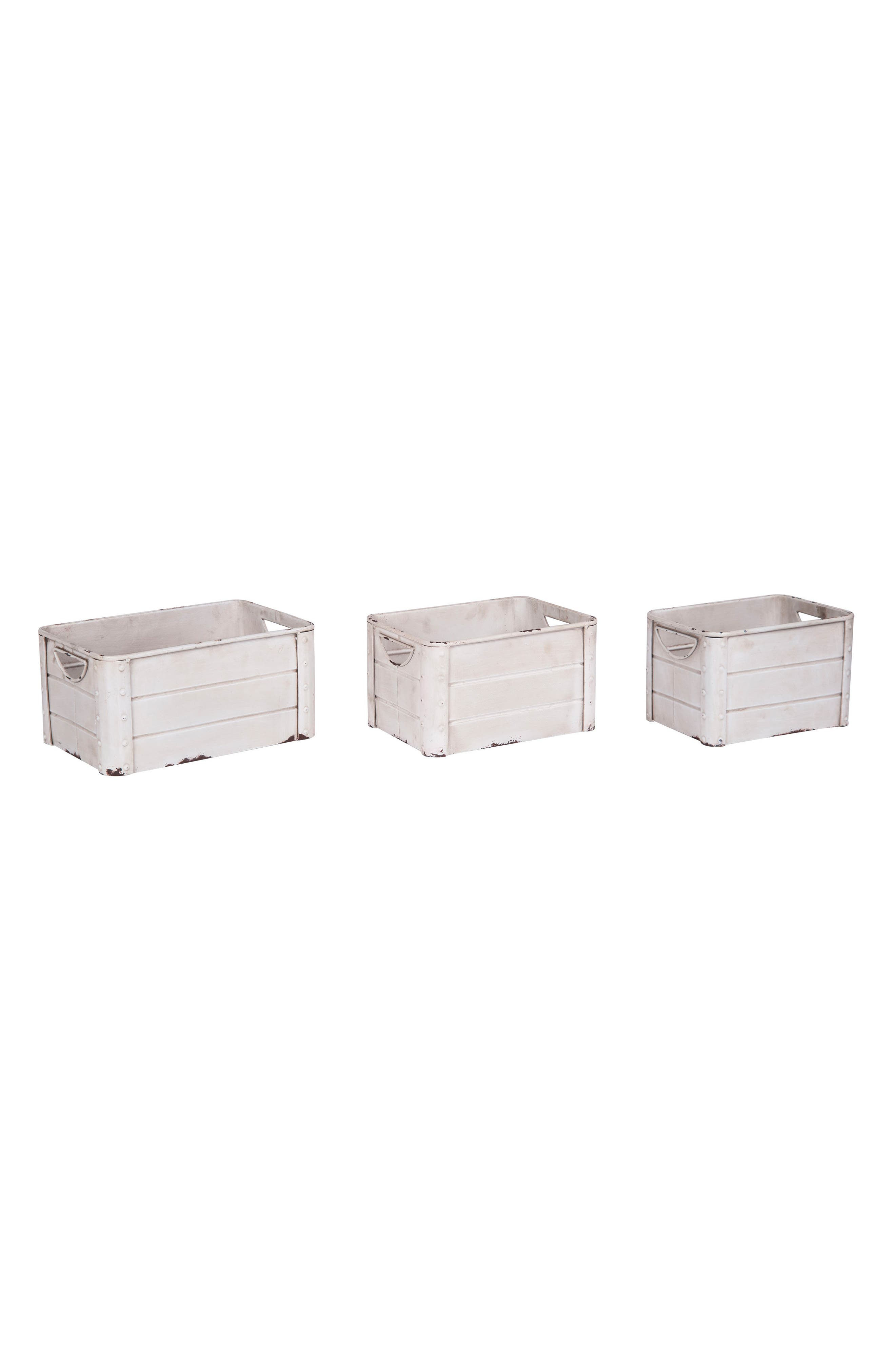 Shorehand Set of 3 Crates,                         Main,                         color, Metal