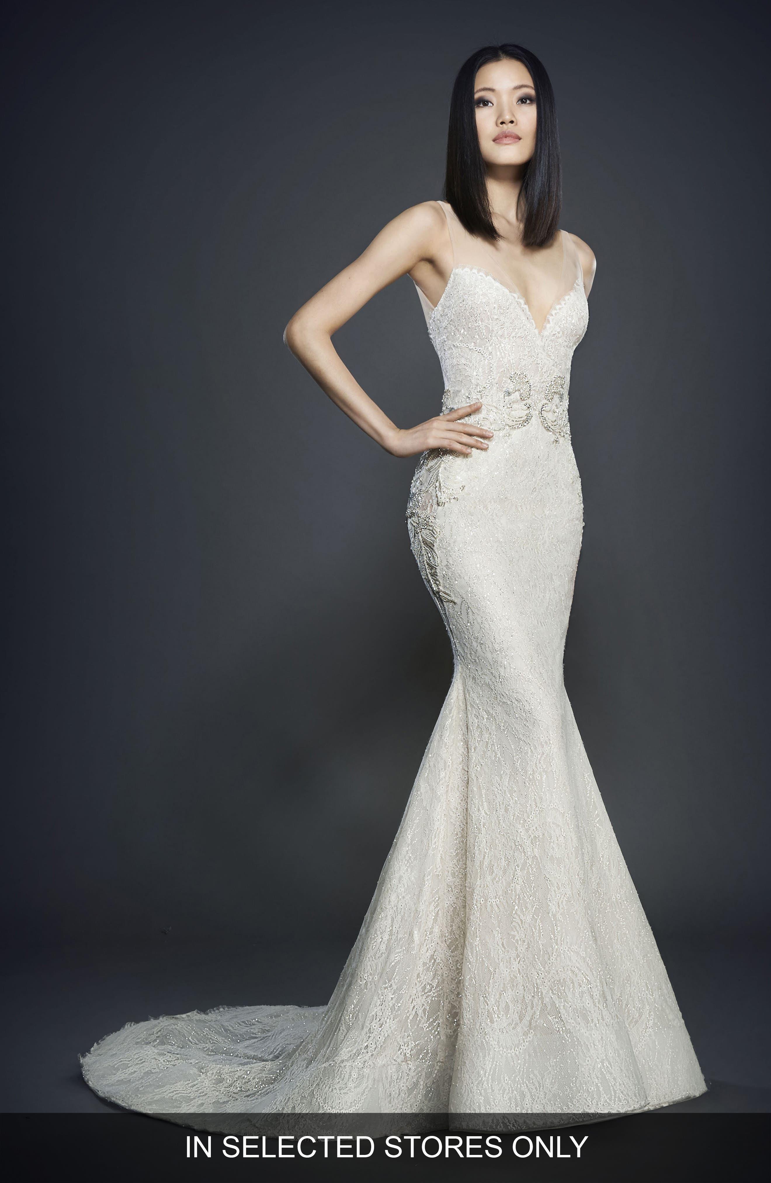 Main Image - Lazaro Glitter Embellished Lace Gown