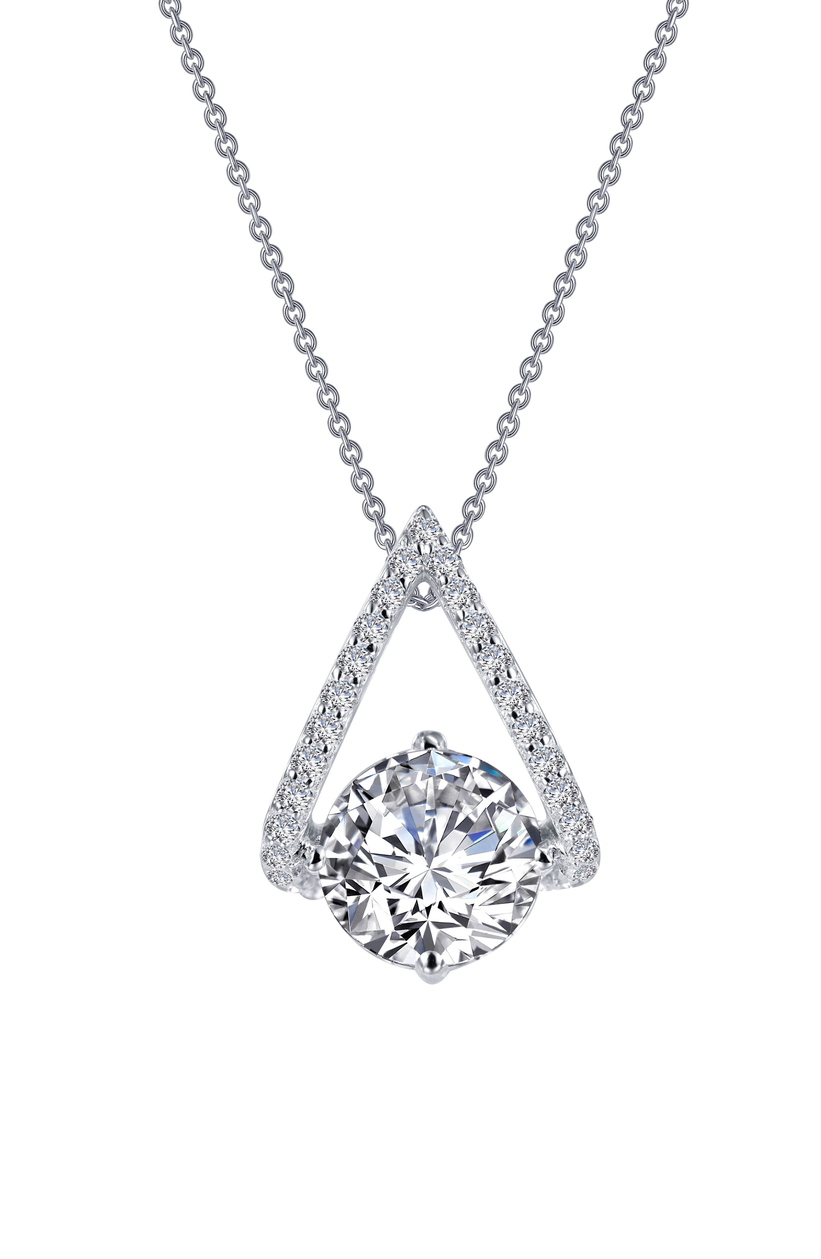 Simulated Diamond Pendant Necklace,                             Alternate thumbnail 3, color,                             Silver/ Clear