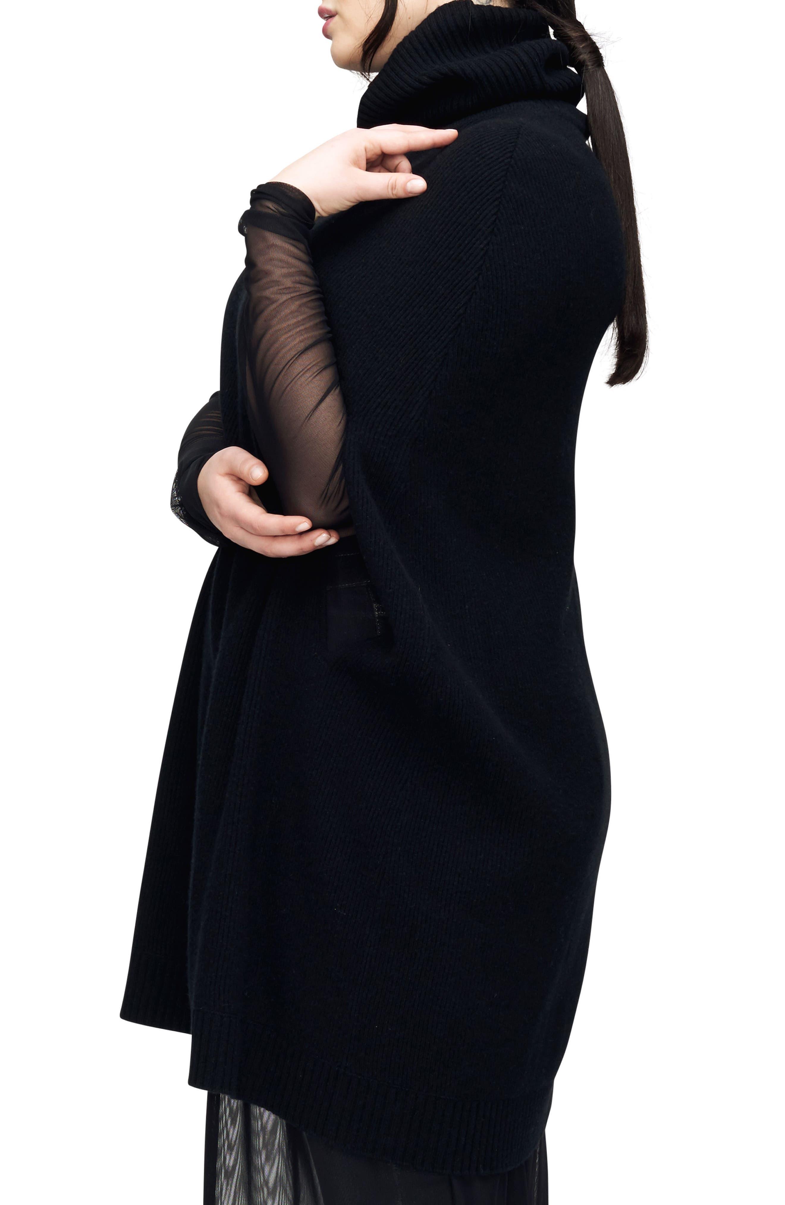 Hudson Cape Sweater,                             Alternate thumbnail 3, color,                             Black
