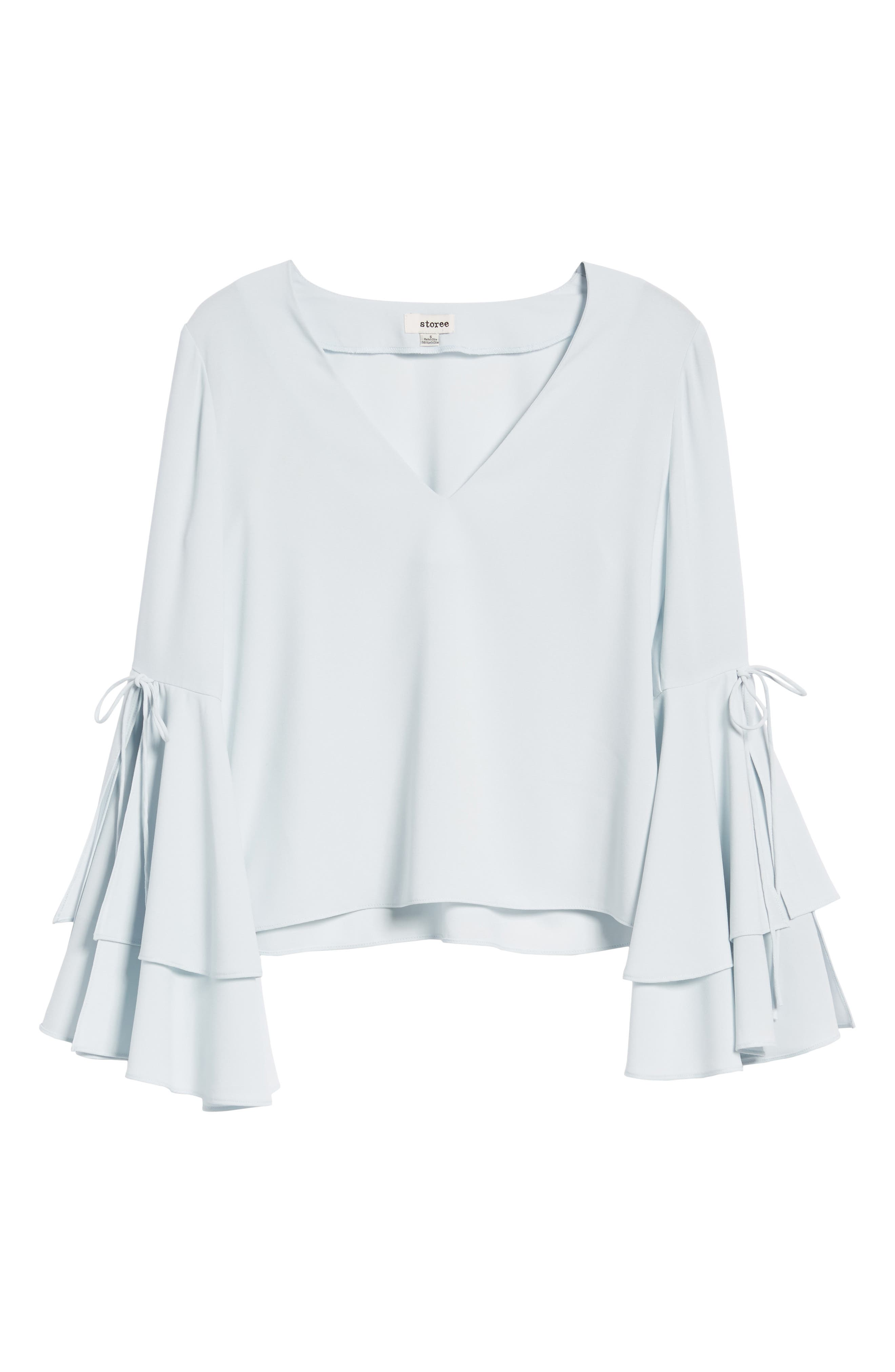 Ruffle Bell Sleeve Top,                             Alternate thumbnail 6, color,                             Blue Flow