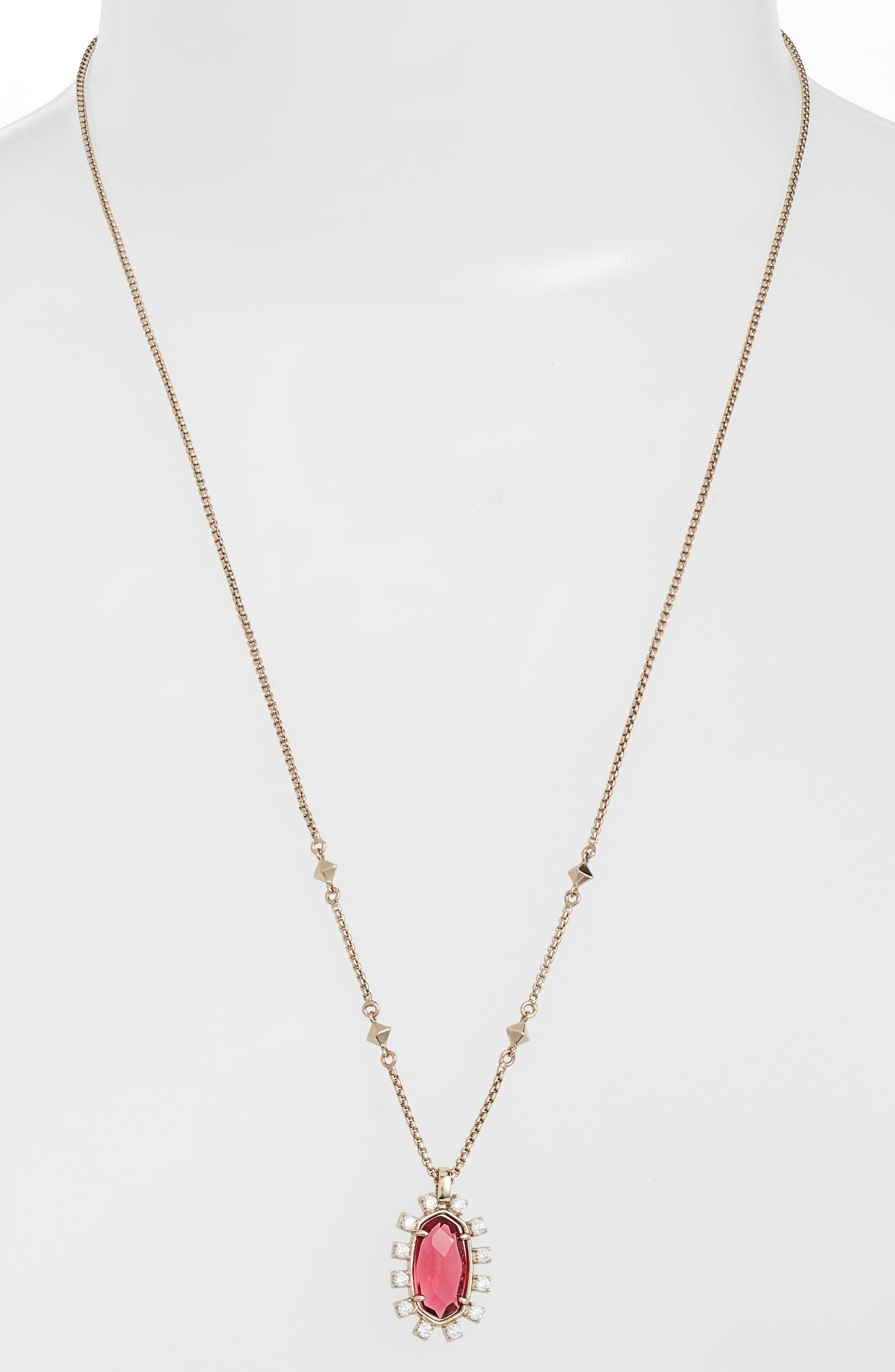 Convertible Pendant Necklace,                         Main,                         color, Berry/ Brass