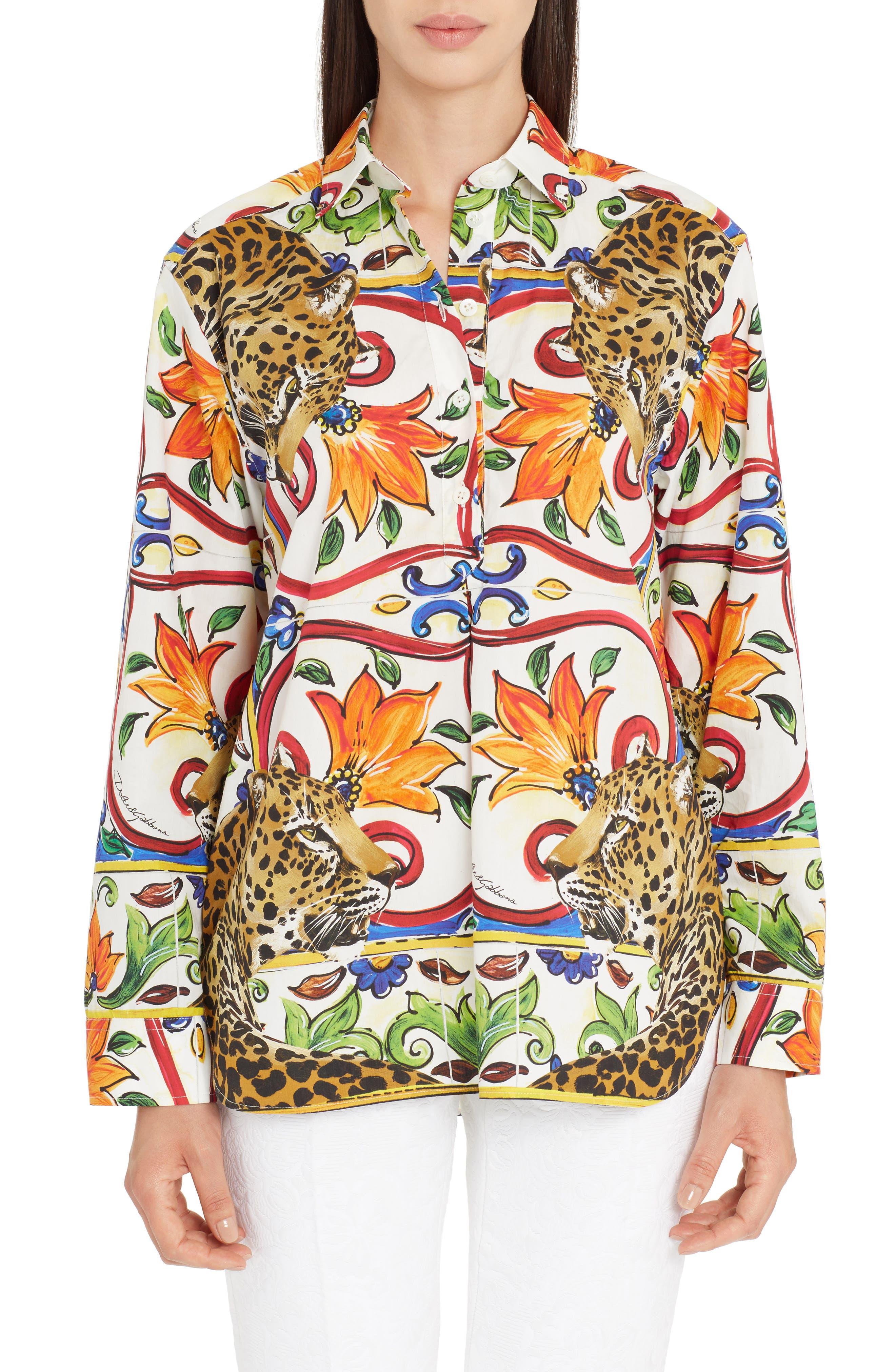 Maiolica Print Cotton Top,                         Main,                         color, White