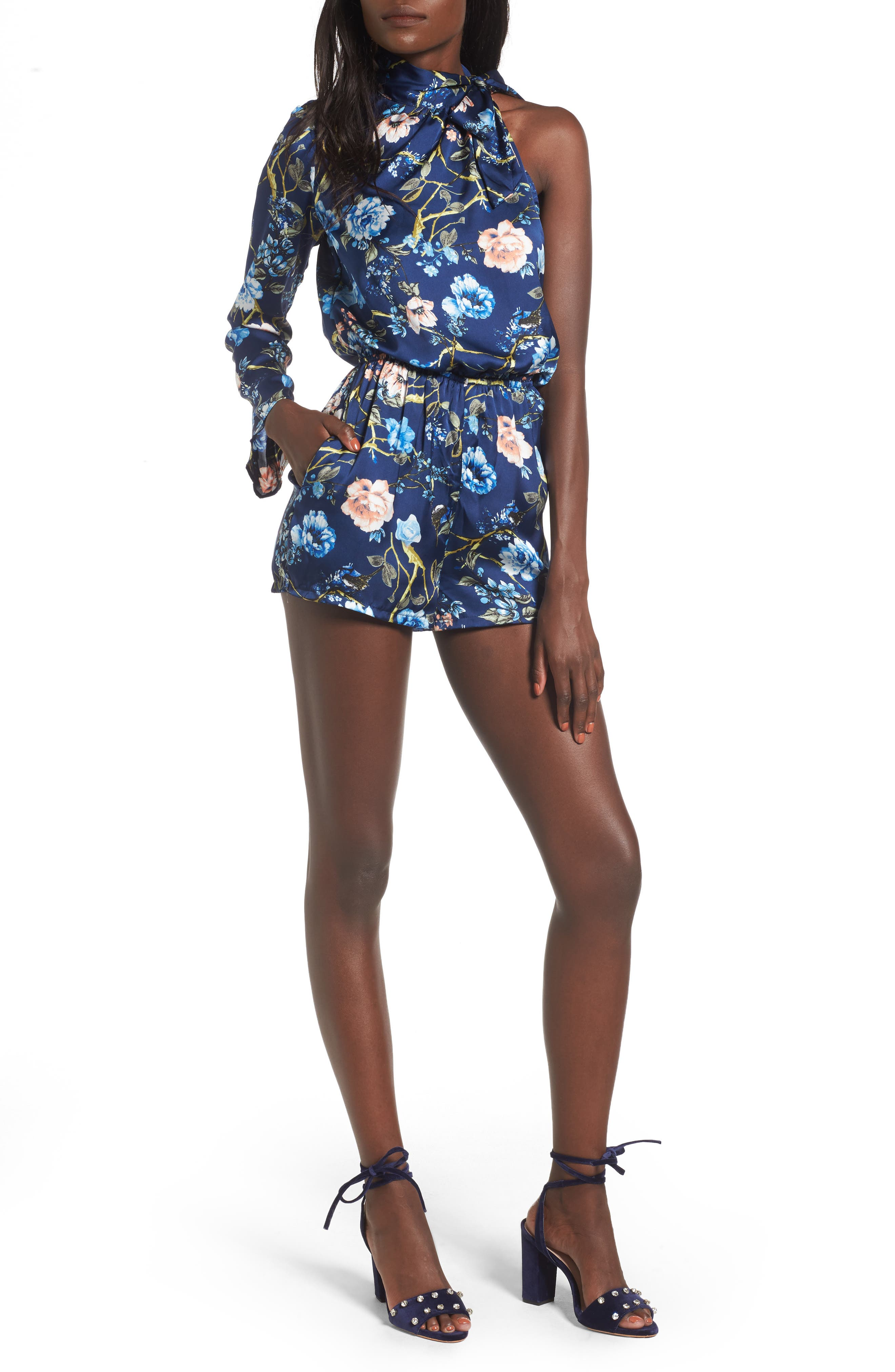 Alternate Image 1 Selected - Mimi Chica Tie Neck One-Sleeve Romper