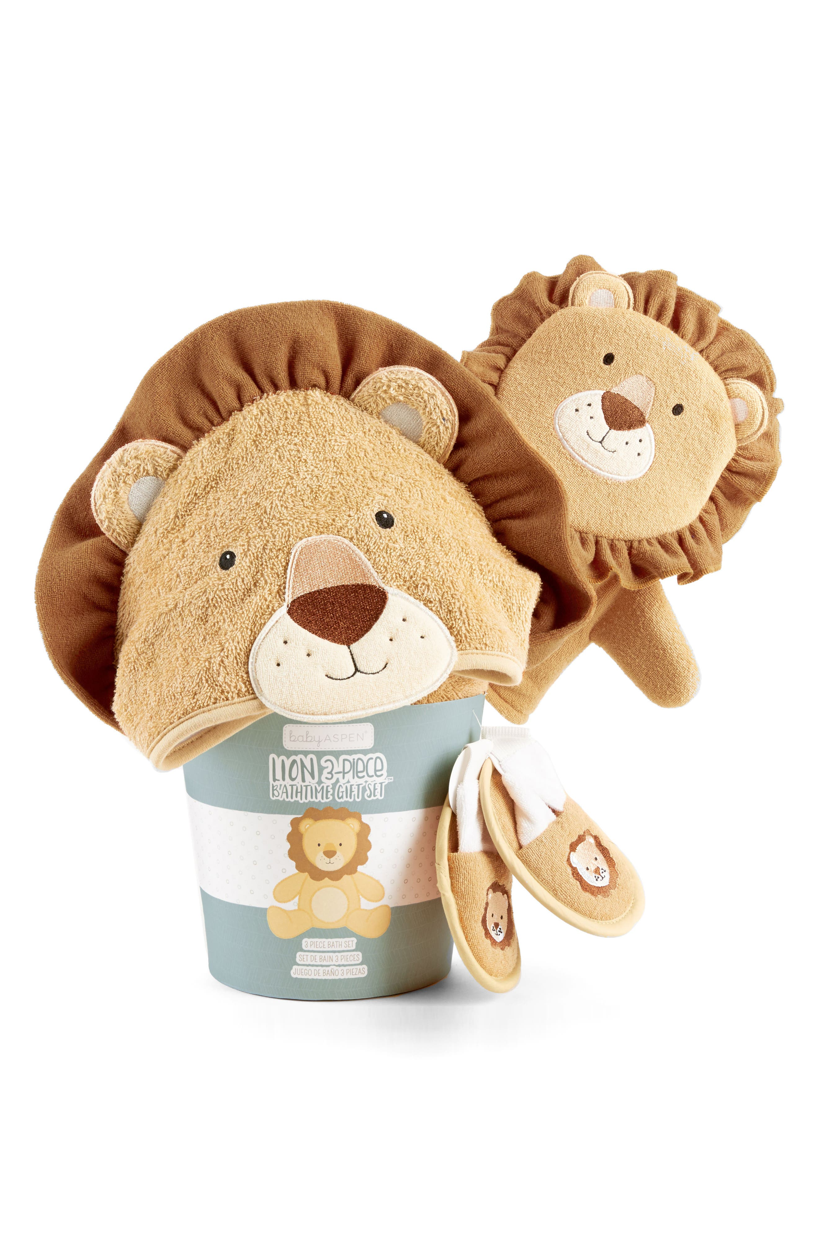 Alternate Image 2  - Baby Aspen Lion Hooded Robe, Bath Mitt & Slippers Set (Baby)